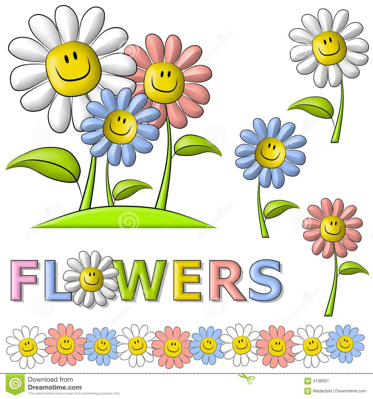 Spring Smiley Face Happy Flowers Stock Illustration Illustration