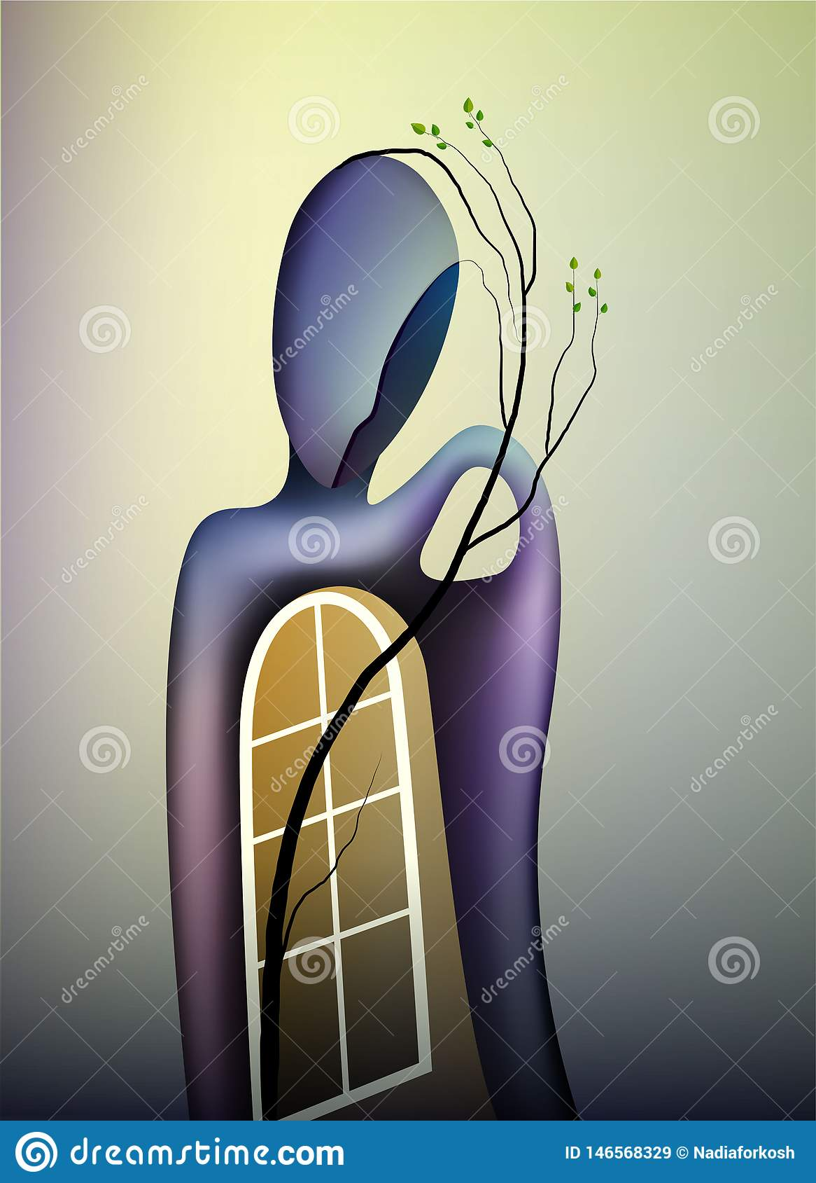 Spring in soul concept, shape of memories, man with open window and branch of tree growing inside, contemporary spring