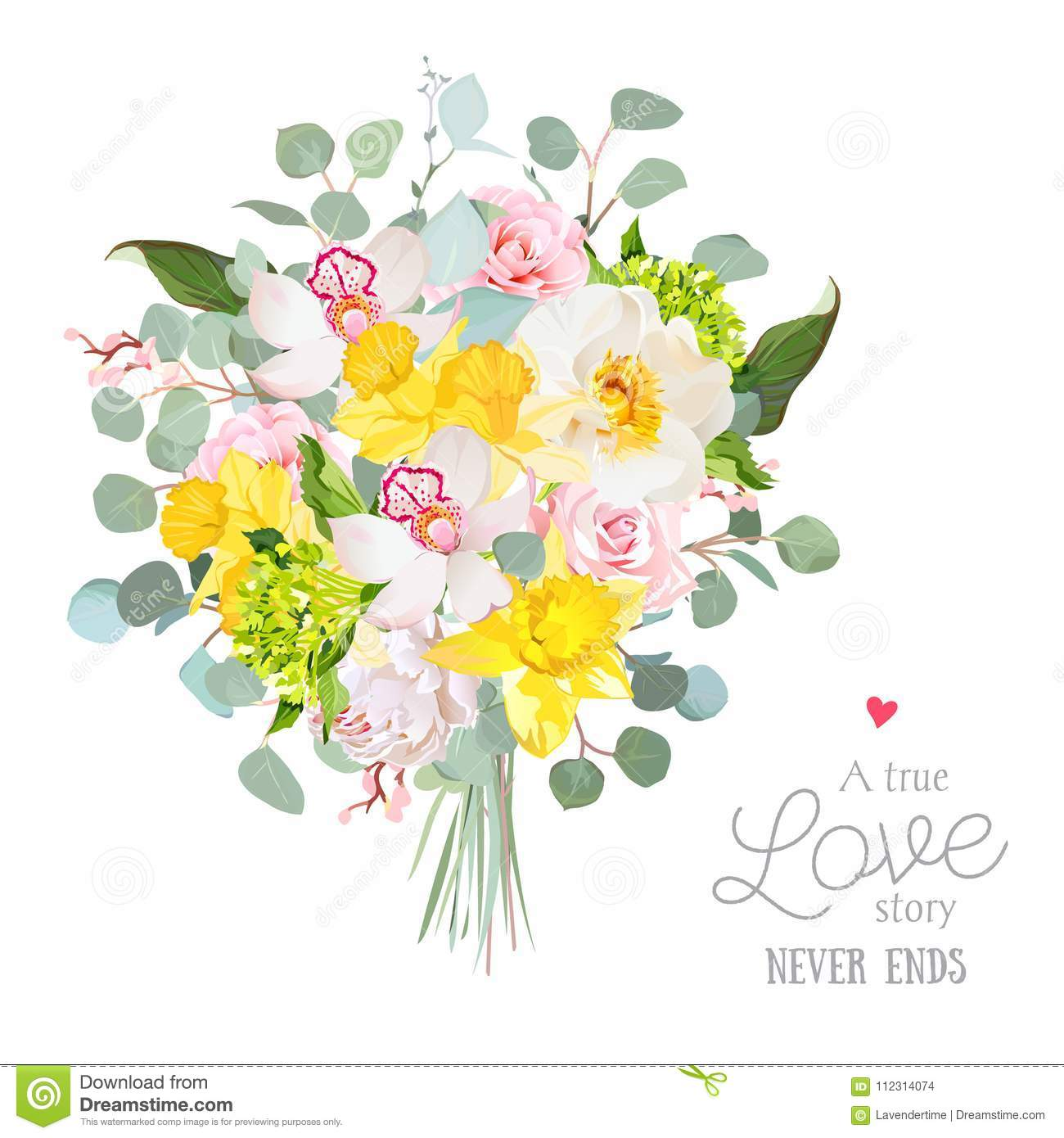 Spring Style Flowers Bouquet Stock Vector Illustration Of Green