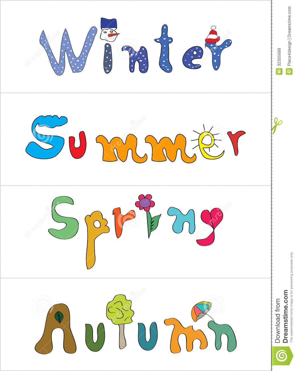 Spring, summer, autumn, winter labels - vector set of seasonal labels.