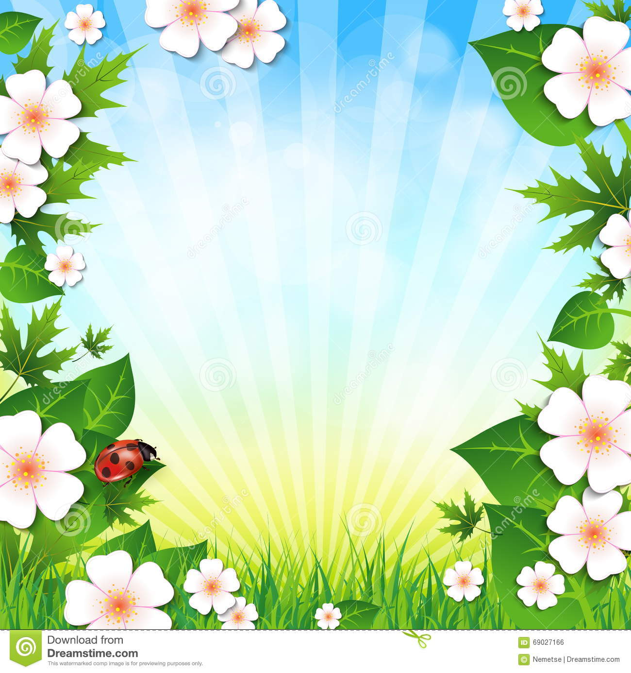 Spring Green Leaves And Flowers Background With Plants: Spring Or Summer Background With Grass Leaves And Flowers