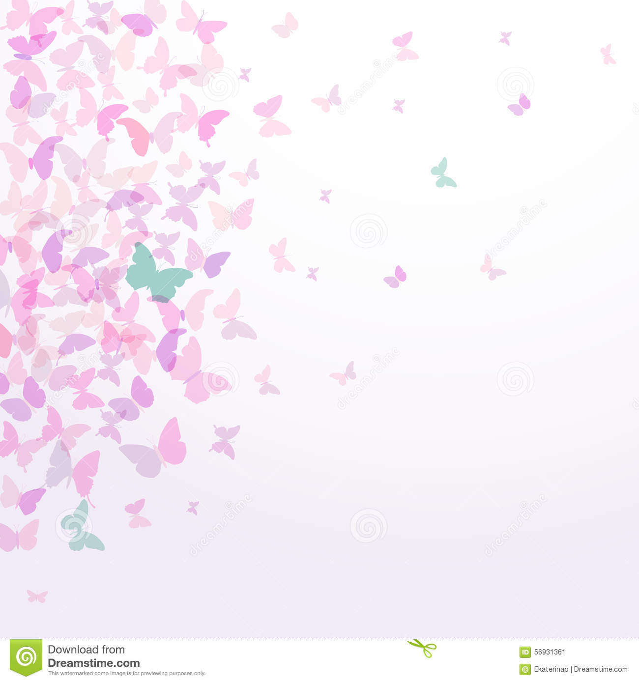 Spring Summer Card Design Colorful Pink Butterflies Set On ...