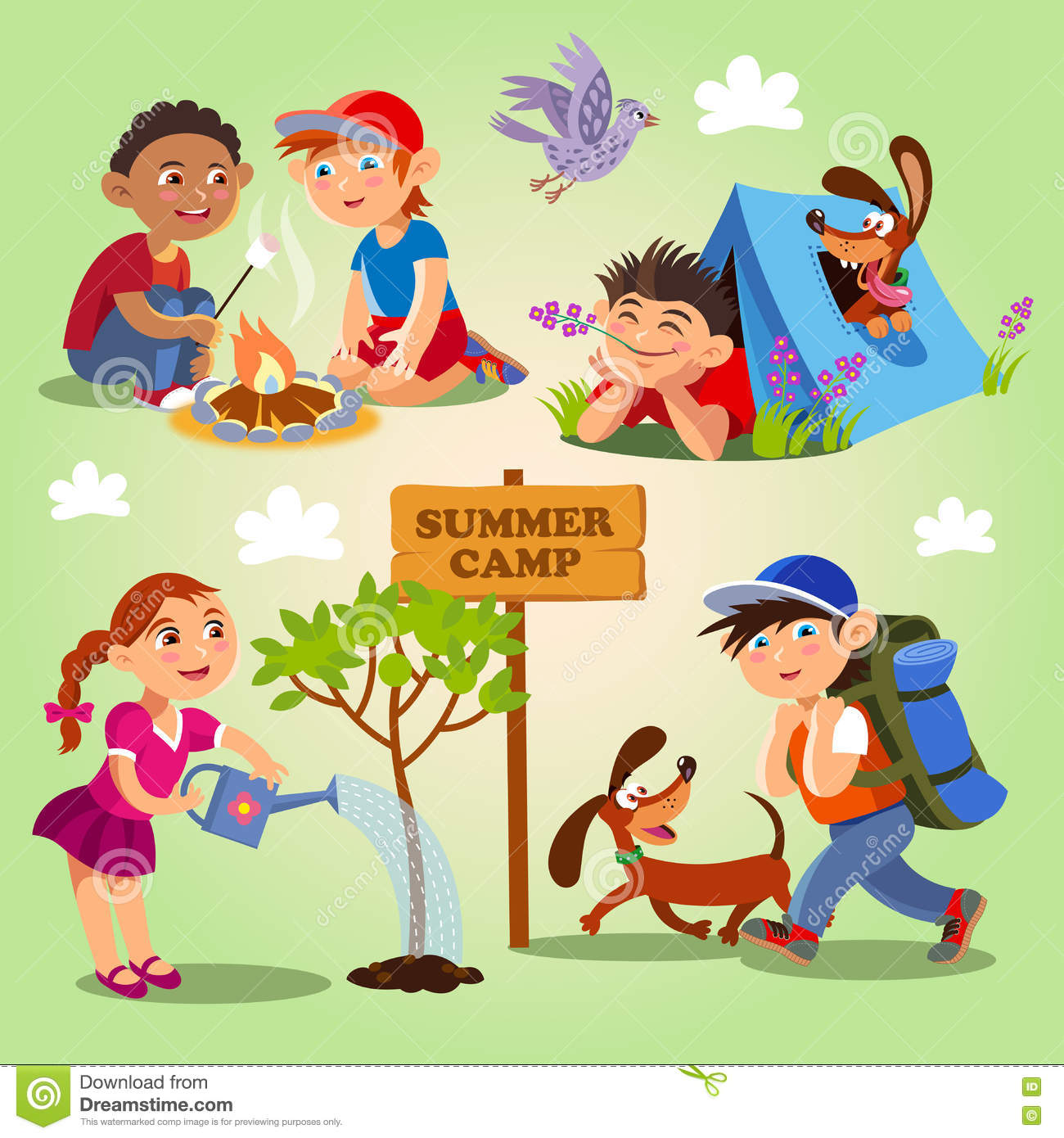 Spring And Summer Child S Outdoor Activities Summer Camp Stock