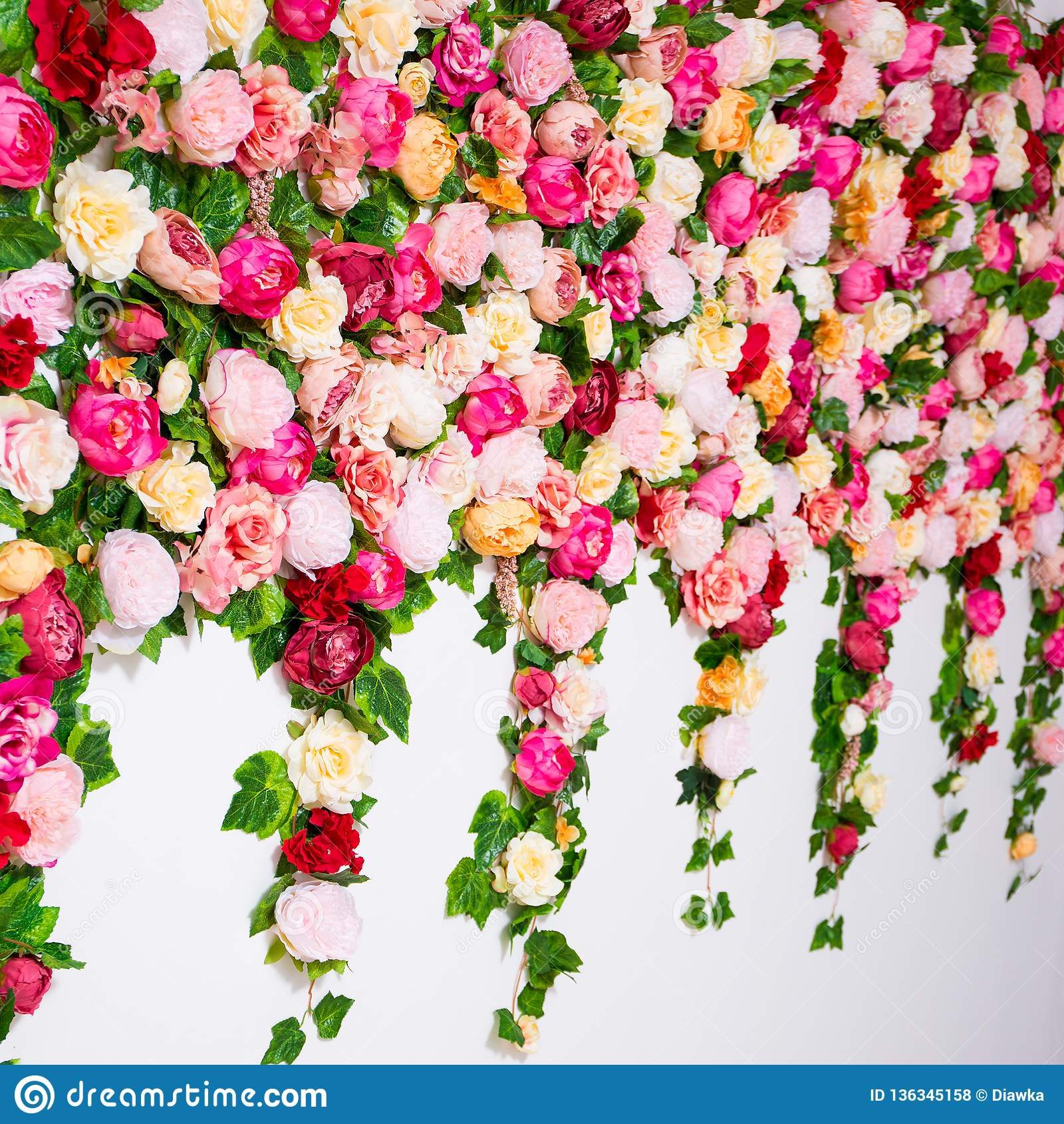 Spring And Summer Concept Close Up Of Wall Background With Colorful Flowers Stock Photo Image Of Background Flower 136345158