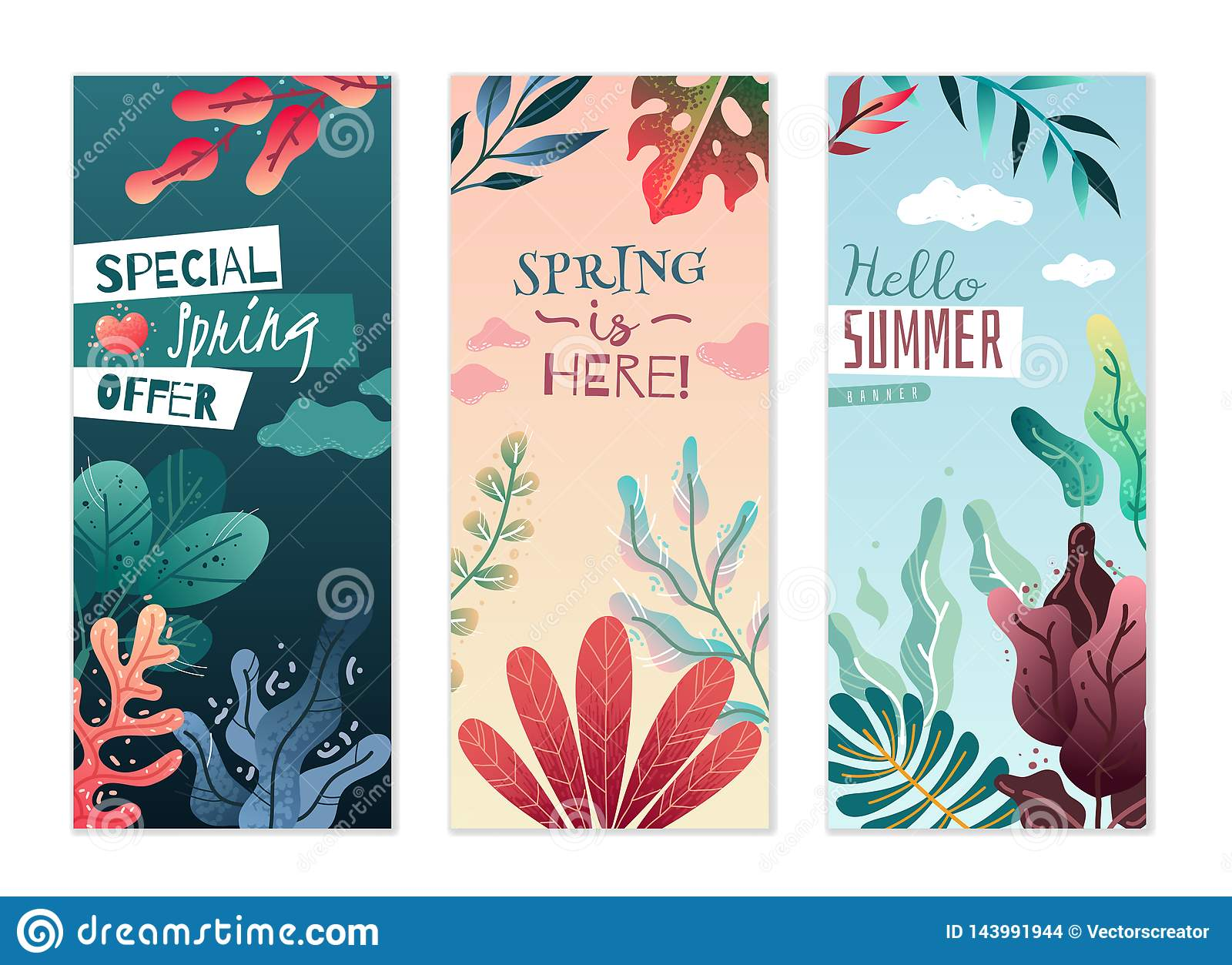 Spring summer decorative vertical banners. Pleasant colors and delicate gradients.