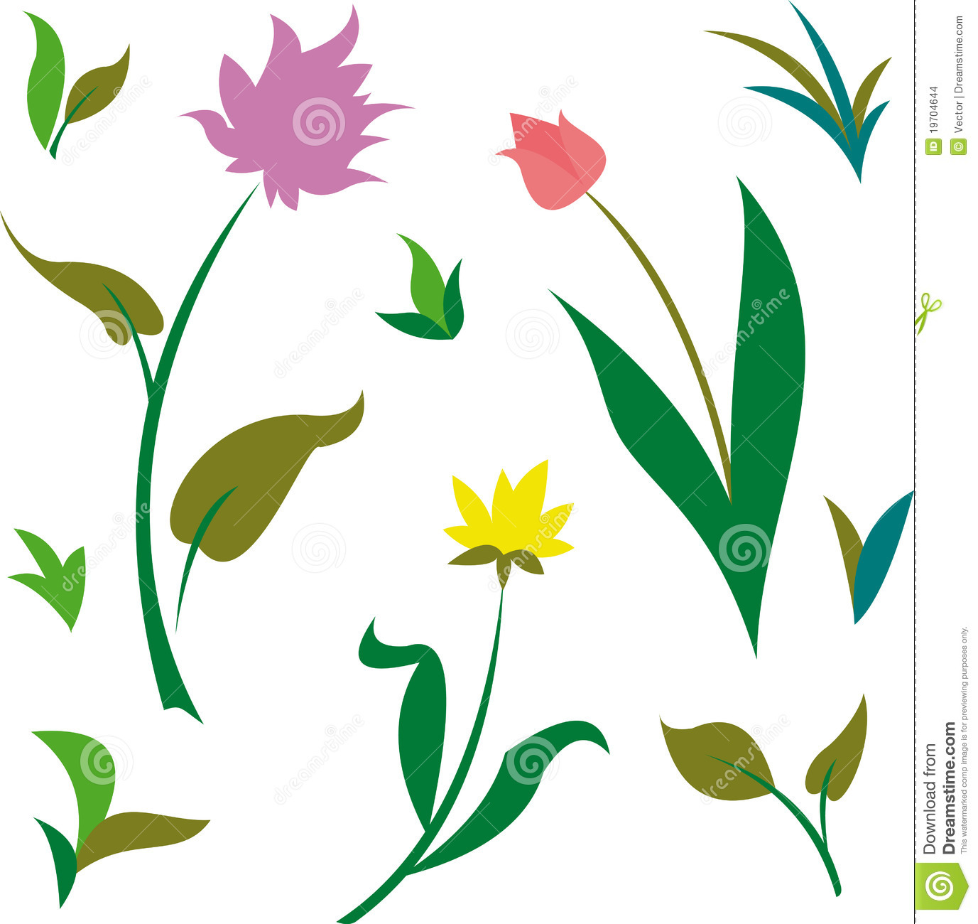 Plants for spring and summer - Spring Summer Green Plants And Flowers Vector