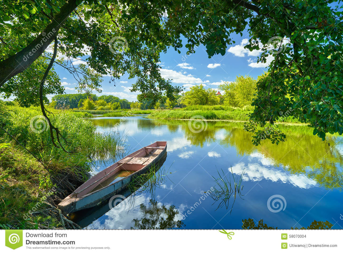Spring summer landscape blue sky clouds river boat green trees