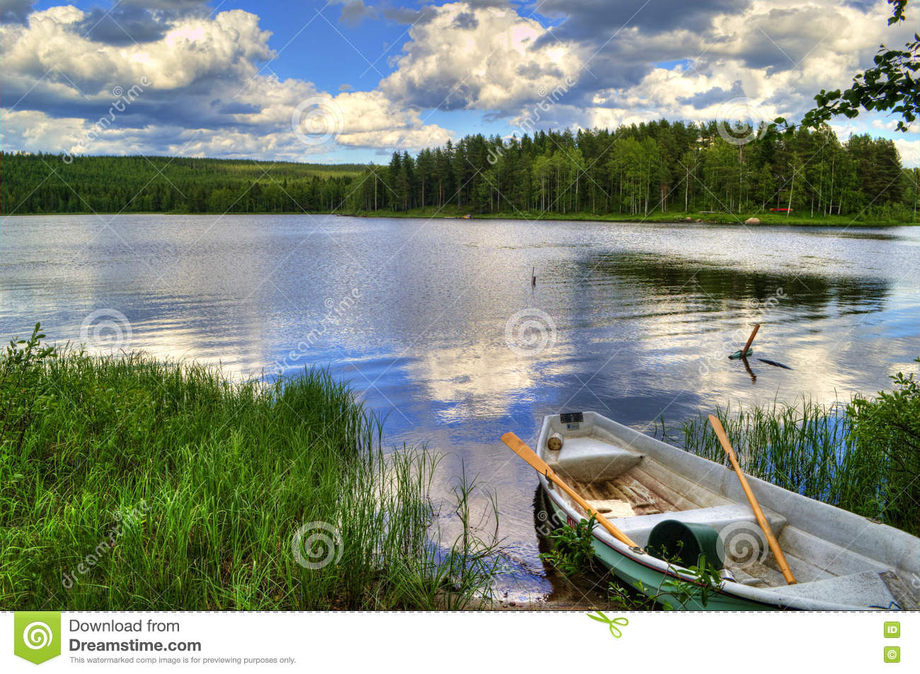 Spring Summer Landscape Blue Sky Clouds River Boat Green ...