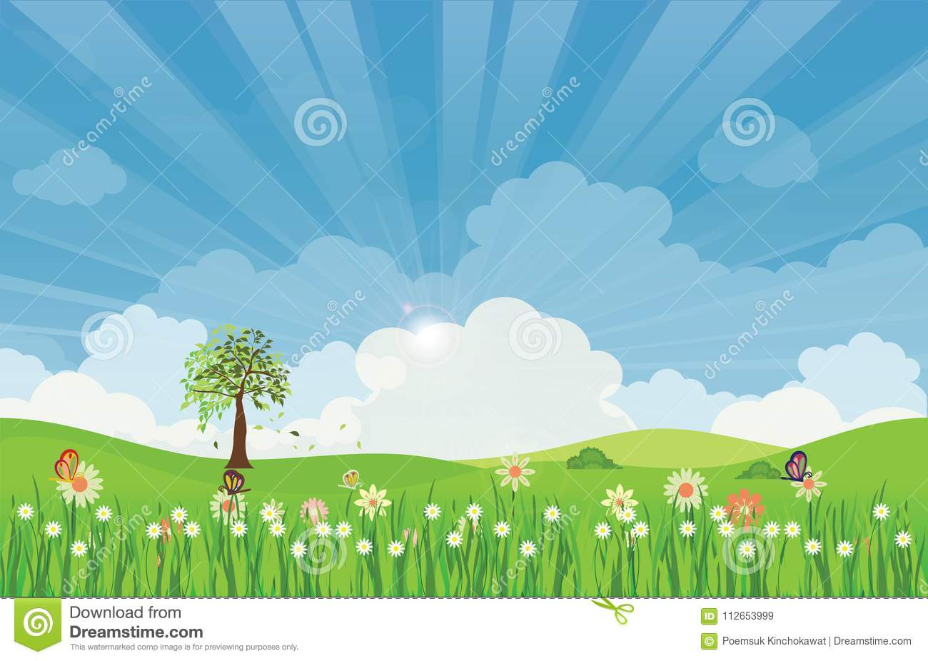 Spring summer meadow landscape with sun rays and flowers.