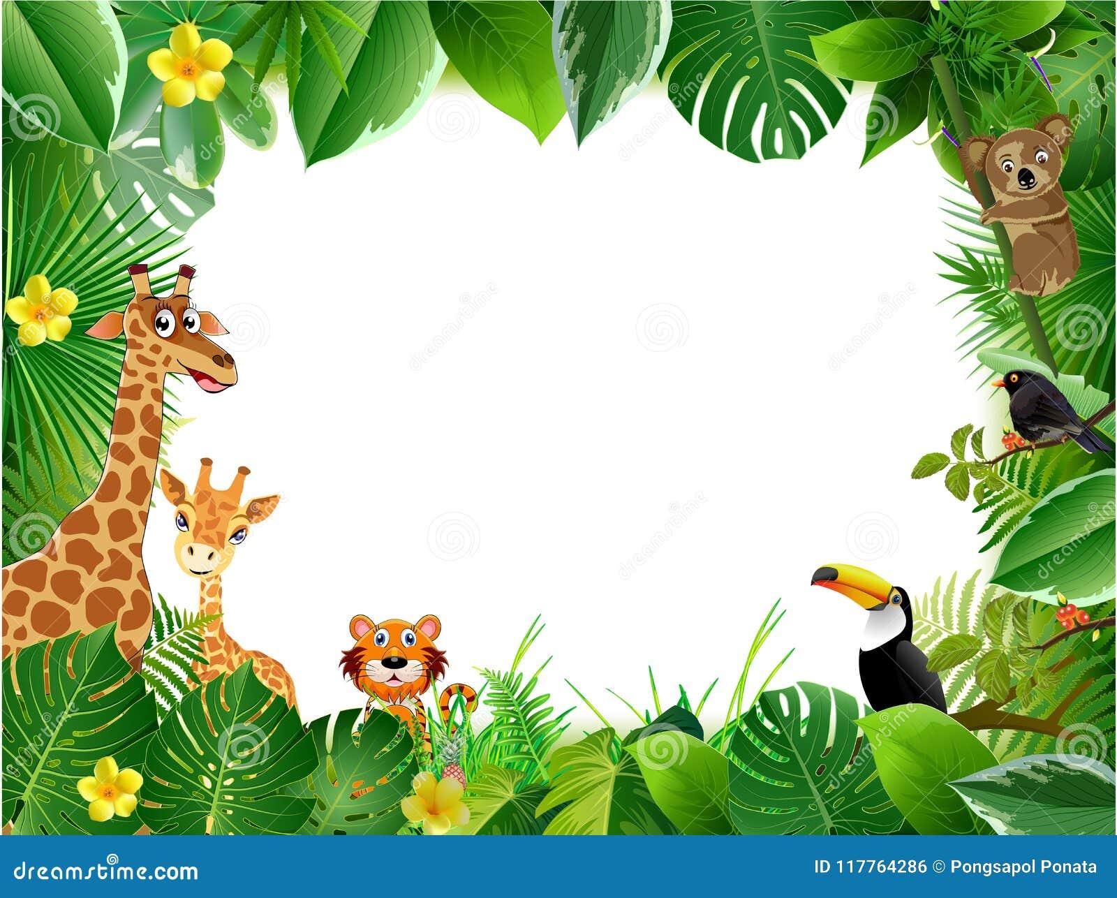 Fondos De Animales Animados: Bright Tropical Background With Cartoon; Jungle; Animals