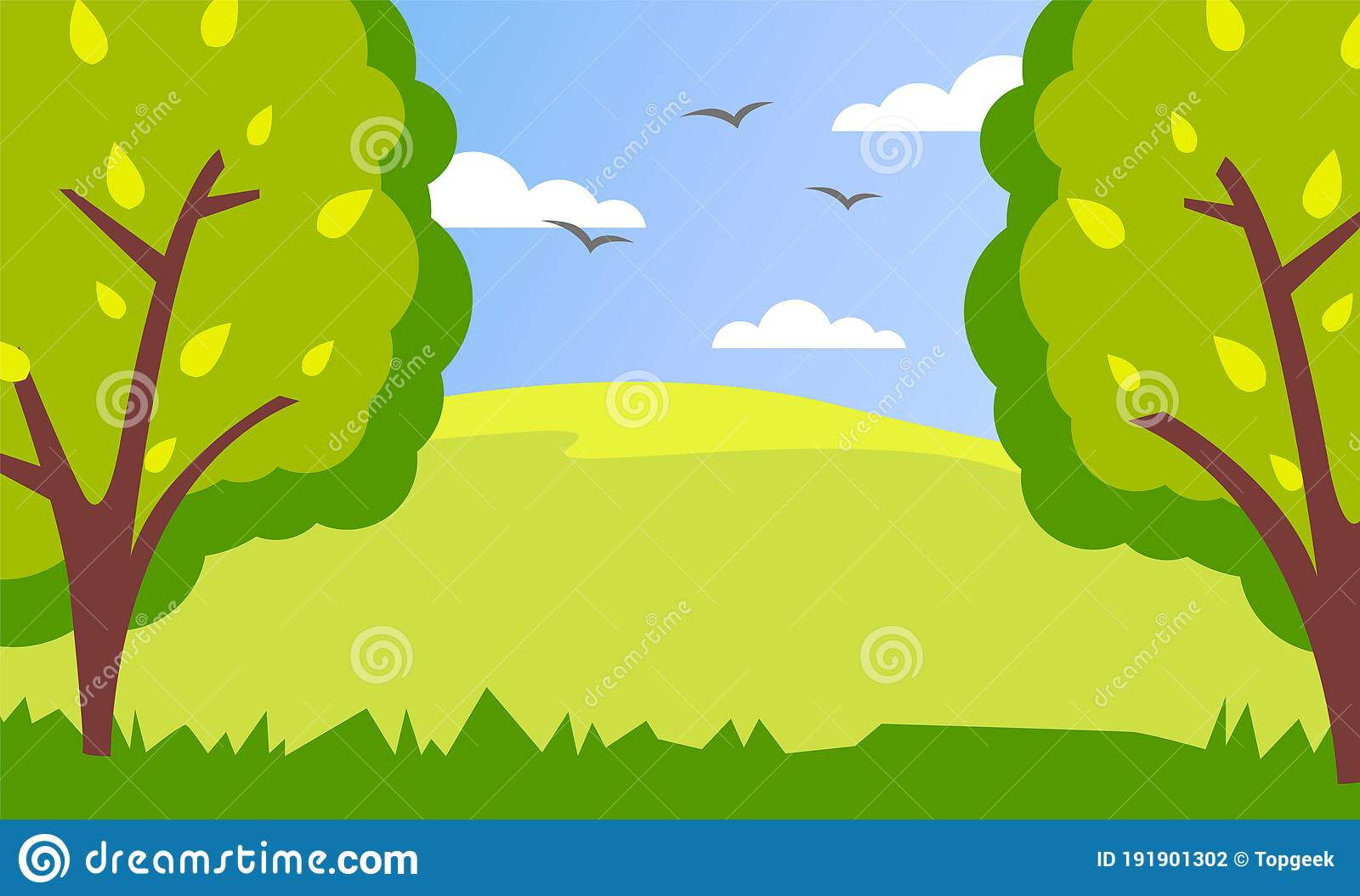 Spring Or Summer Green Cartoon Country Landscape With Green Fields High Trees And Cloudy Sky Stock Vector Illustration Of Farm Bush 191901302