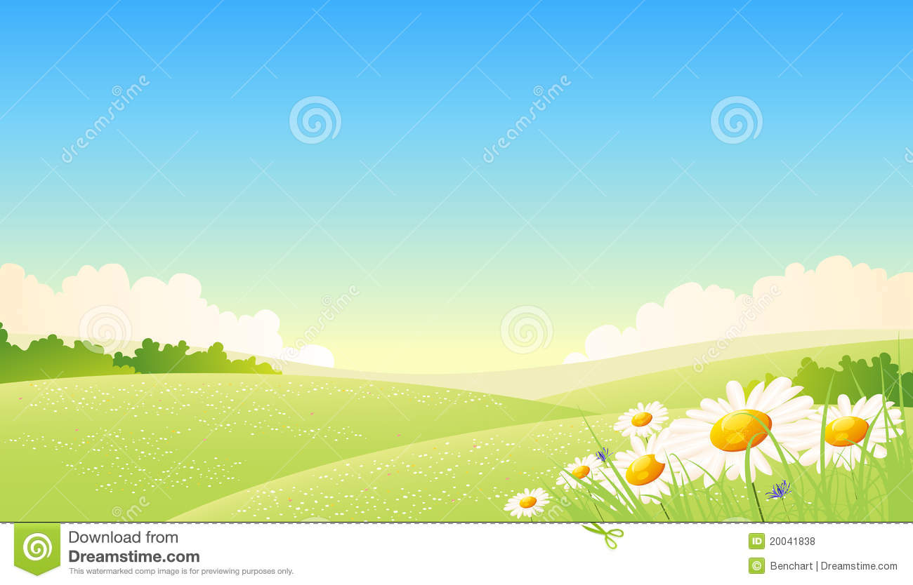 Illustration of a beautiful cartoon spring or summer seasons landscape ...