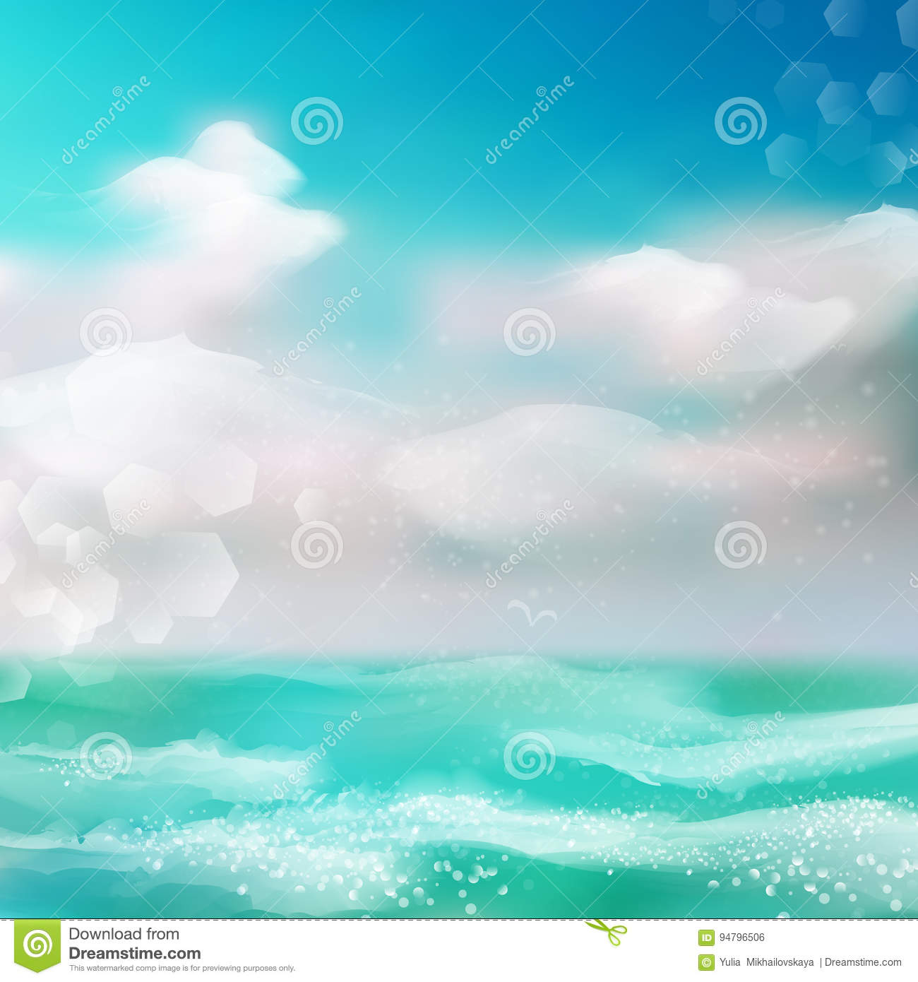 Background Of Blurred Beach And Sea Waves With Bokeh: Spring And Summer Watercolor Ocean Background With Shining