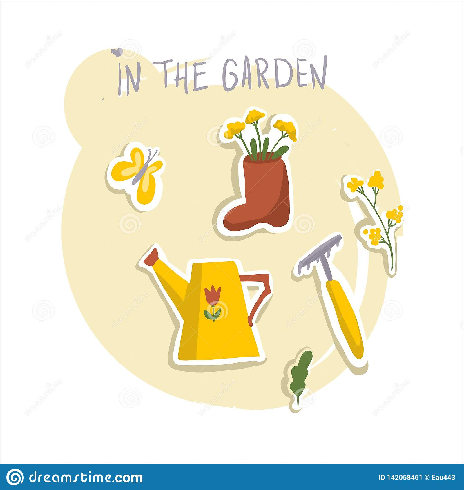 Spring and summer. Work in the garden. Butterfly, watering can, flowers, rake, boot