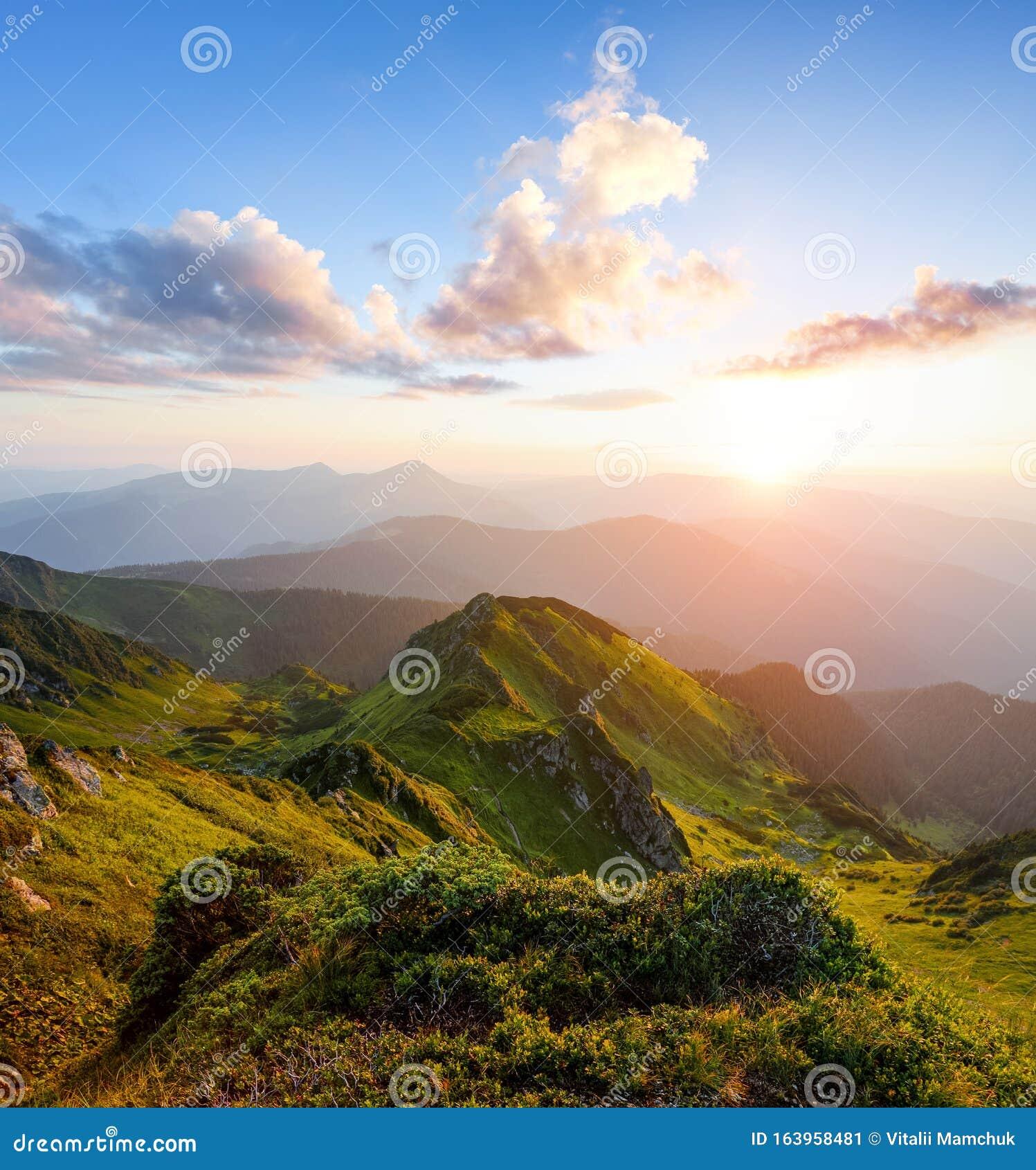 Spring Sunny Morning Mountain Landscape With Beautiful Sunrise