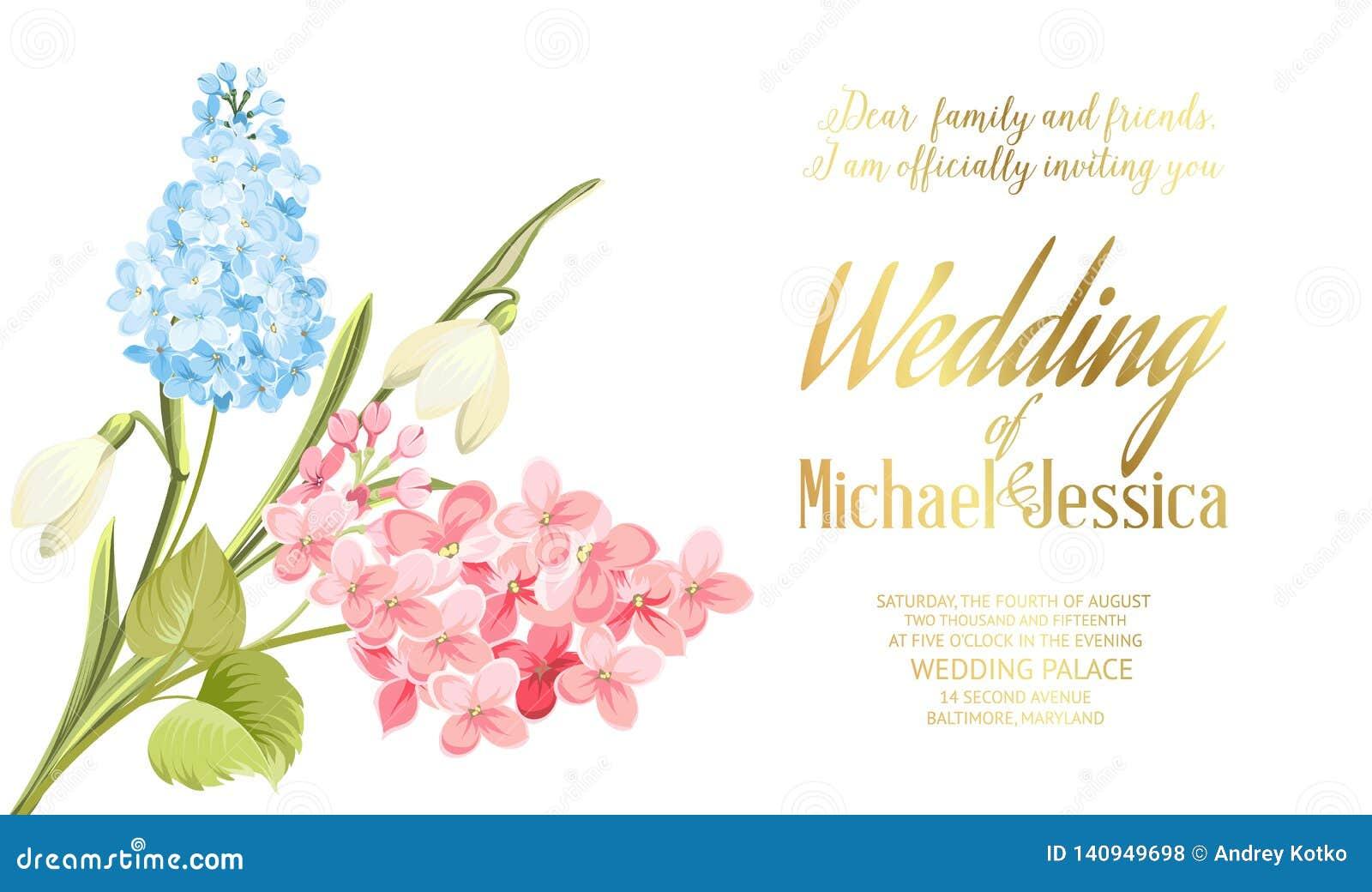 Spring Syringa Flowers Background For The Wedding Card