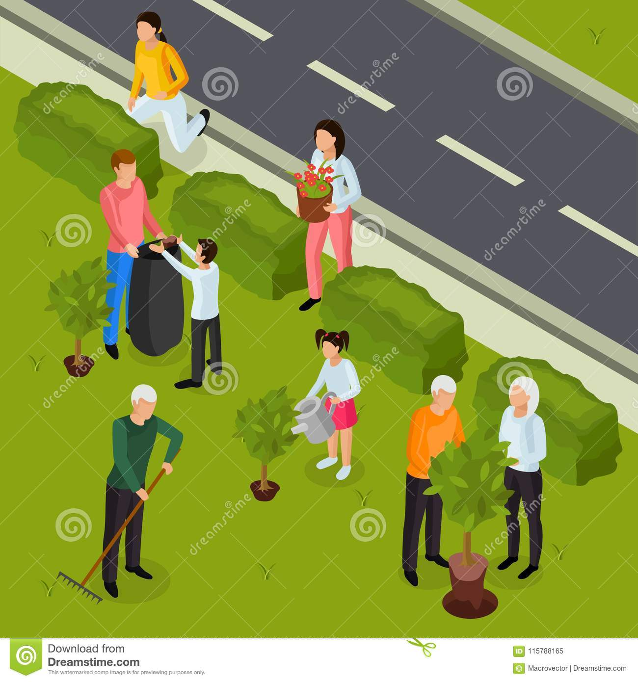 spring cleaning isometric composition stock vector illustration of