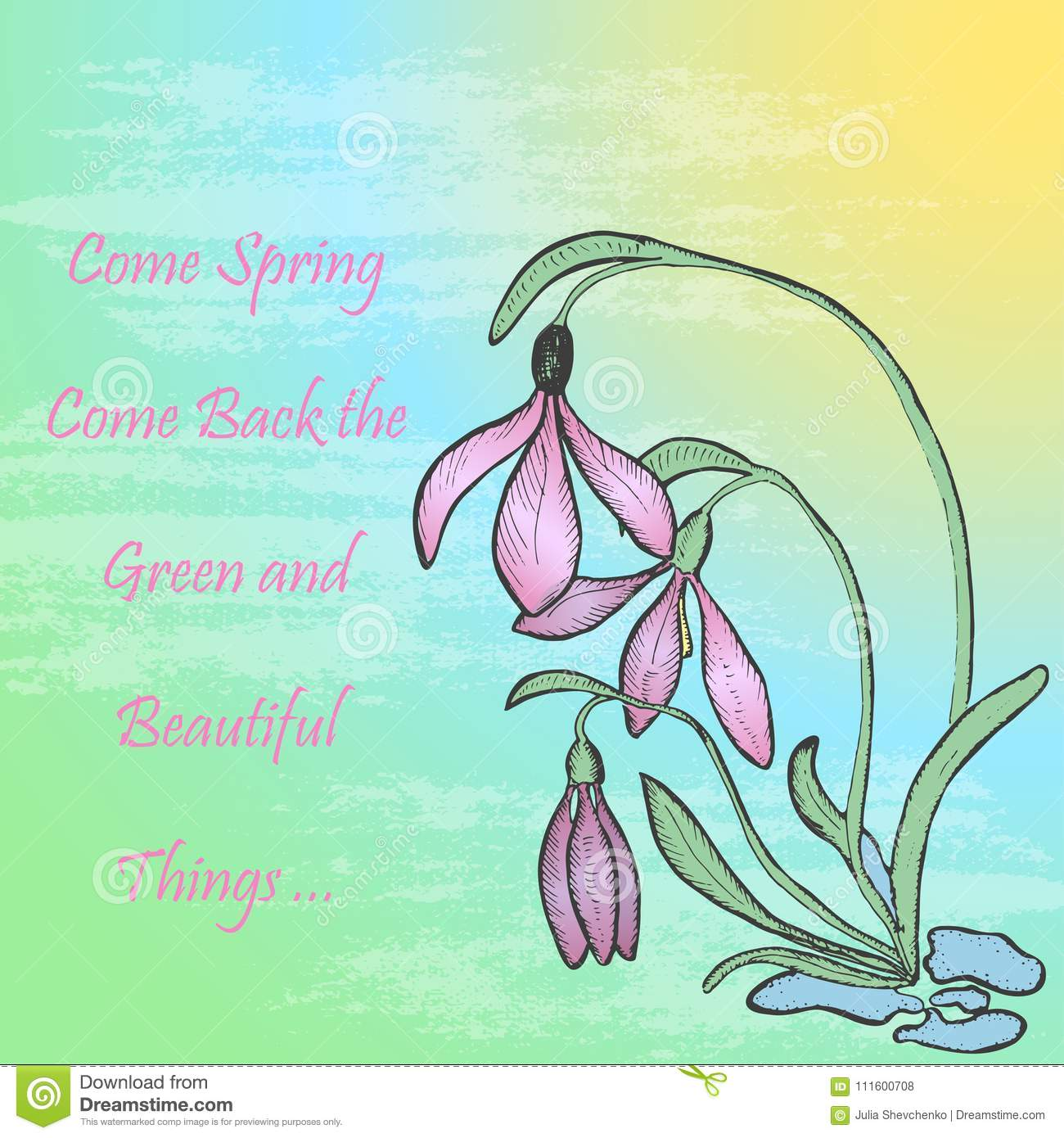 Spring theme card with snowdrop stock vector illustration of spring theme greeting card with snowdrop bush on the background with gradient and brush texture text with words about spring vector eps 10 izmirmasajfo