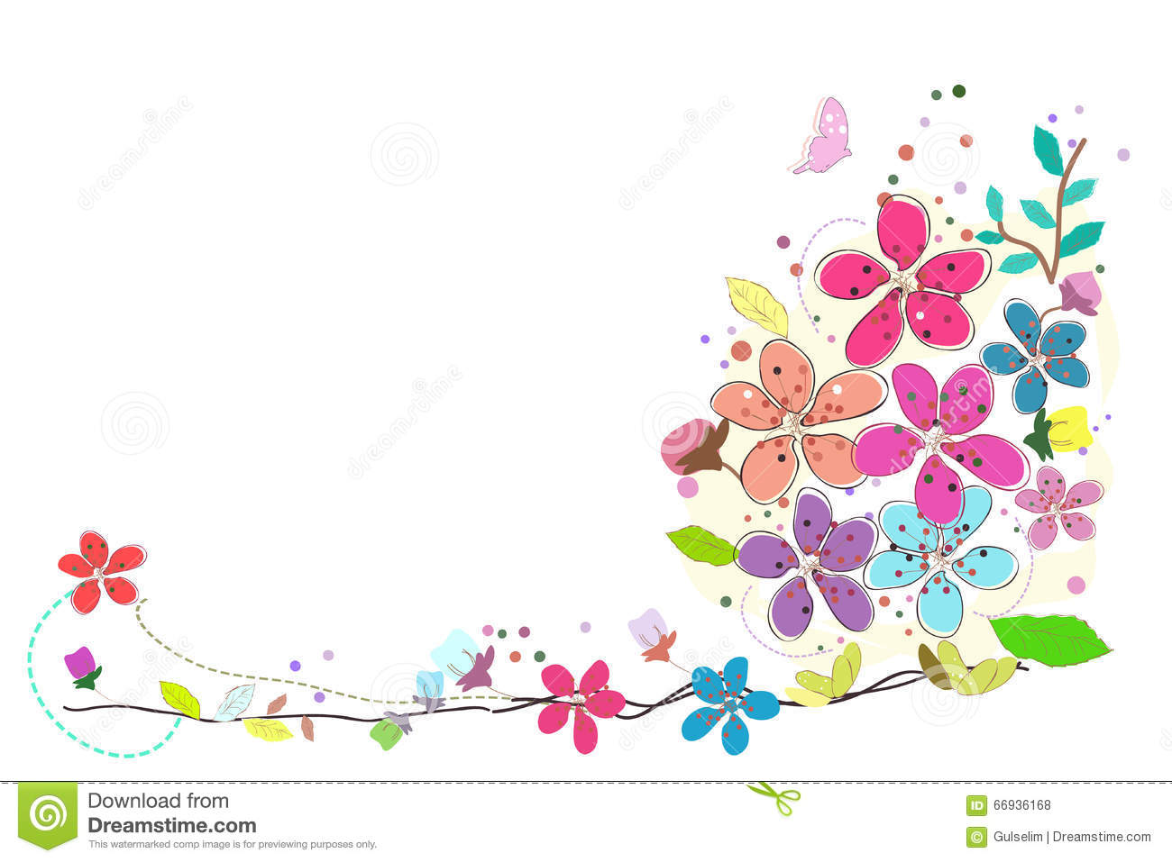 Spring Time Colorful Abstract Doodle Flowers Vector