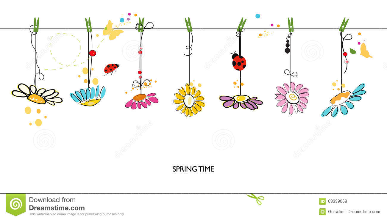 Spring Time Decorative Floral Abstract Border Background Vector Congratulations Images Stock Photos Vectors