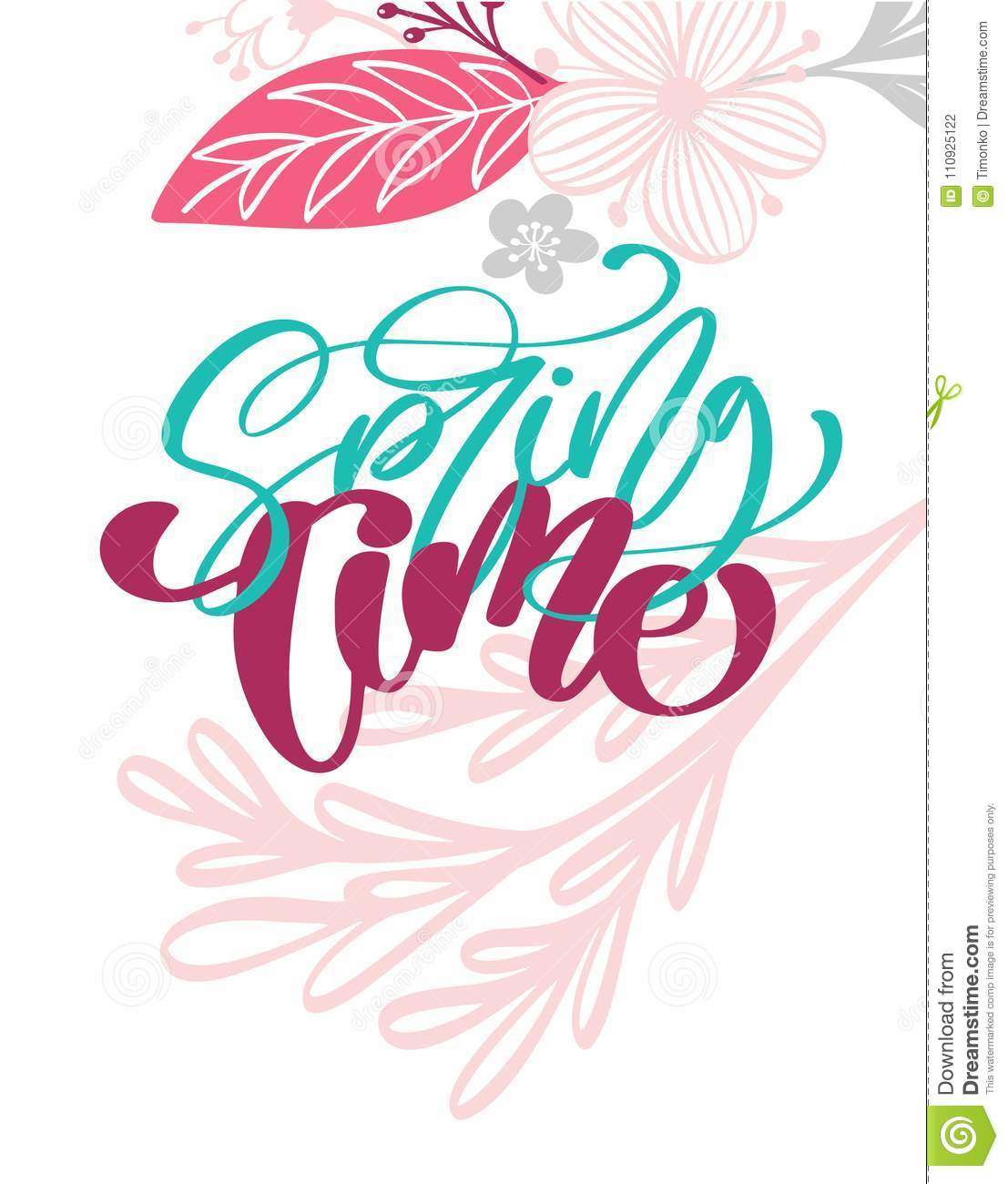 Spring Time Hand Drawn Text And Design For Greeting Card Trendy