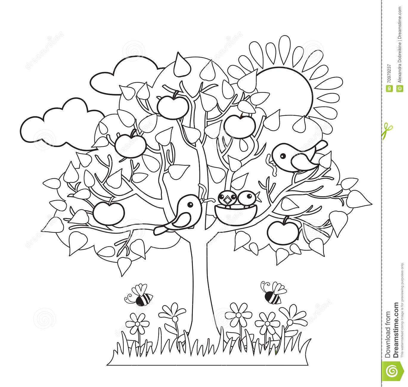 Stock Illustration Spring Tree Birds Build Nests Seasonal Signs Spring