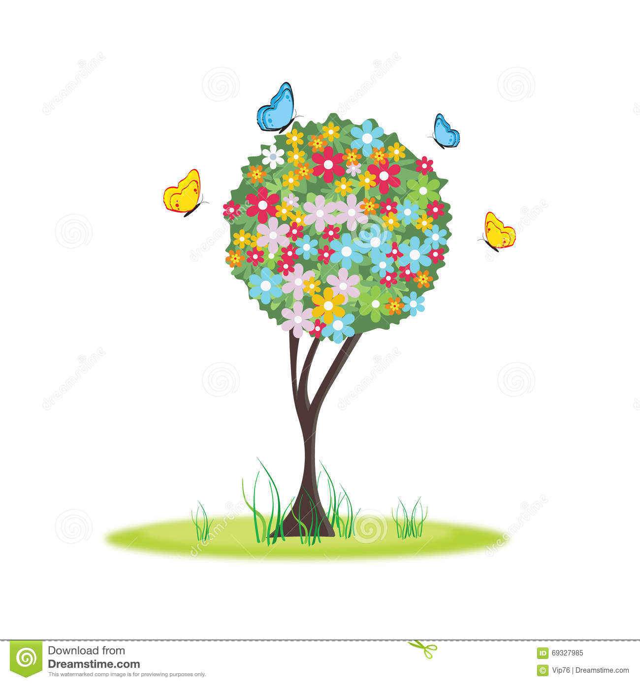 Stock Illustration Spring Tree Floral Beautiful Vector Illustration Im...
