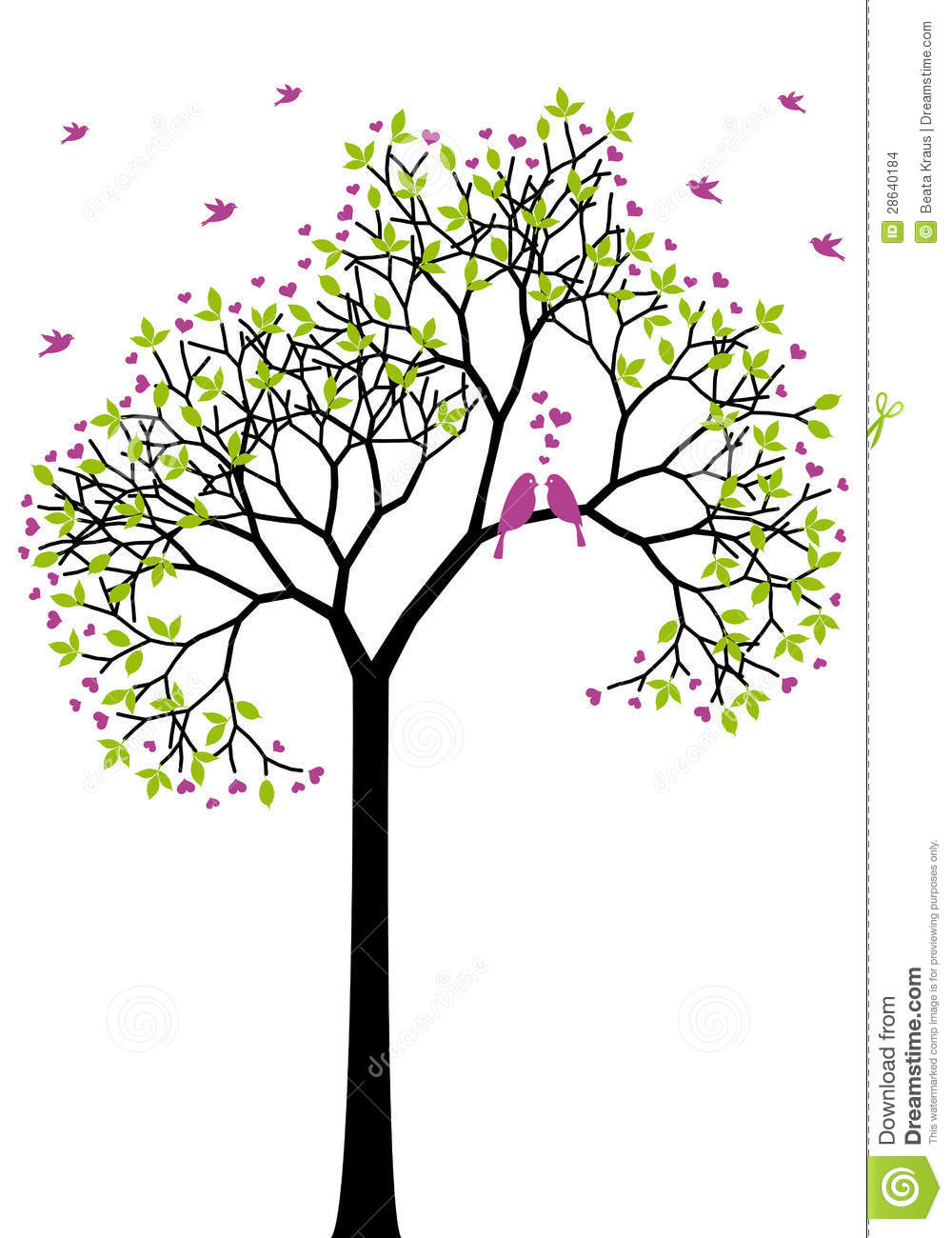 Stock Images Spring Tree Love Birds Vector Image28640184