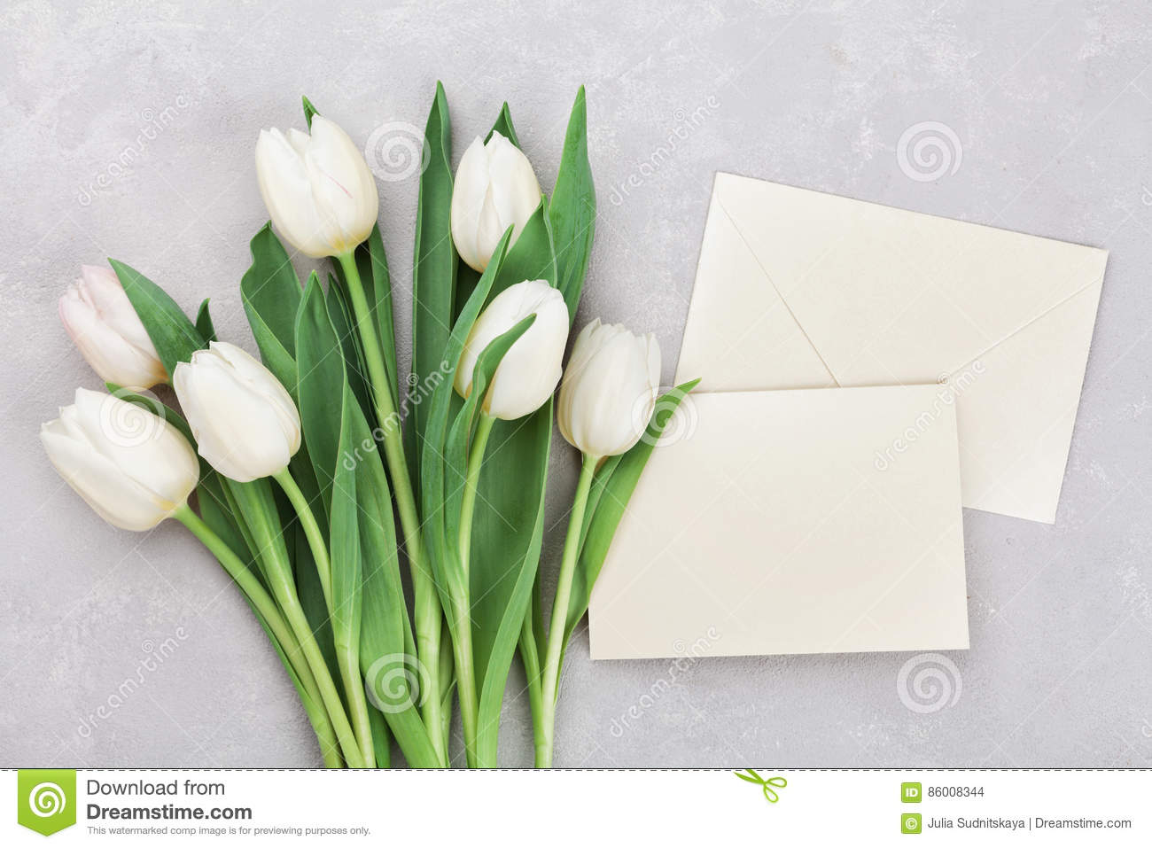 Spring tulip flowers and paper card on gray stone table top view in flat lay style. Greeting for Womens or Mothers Day.