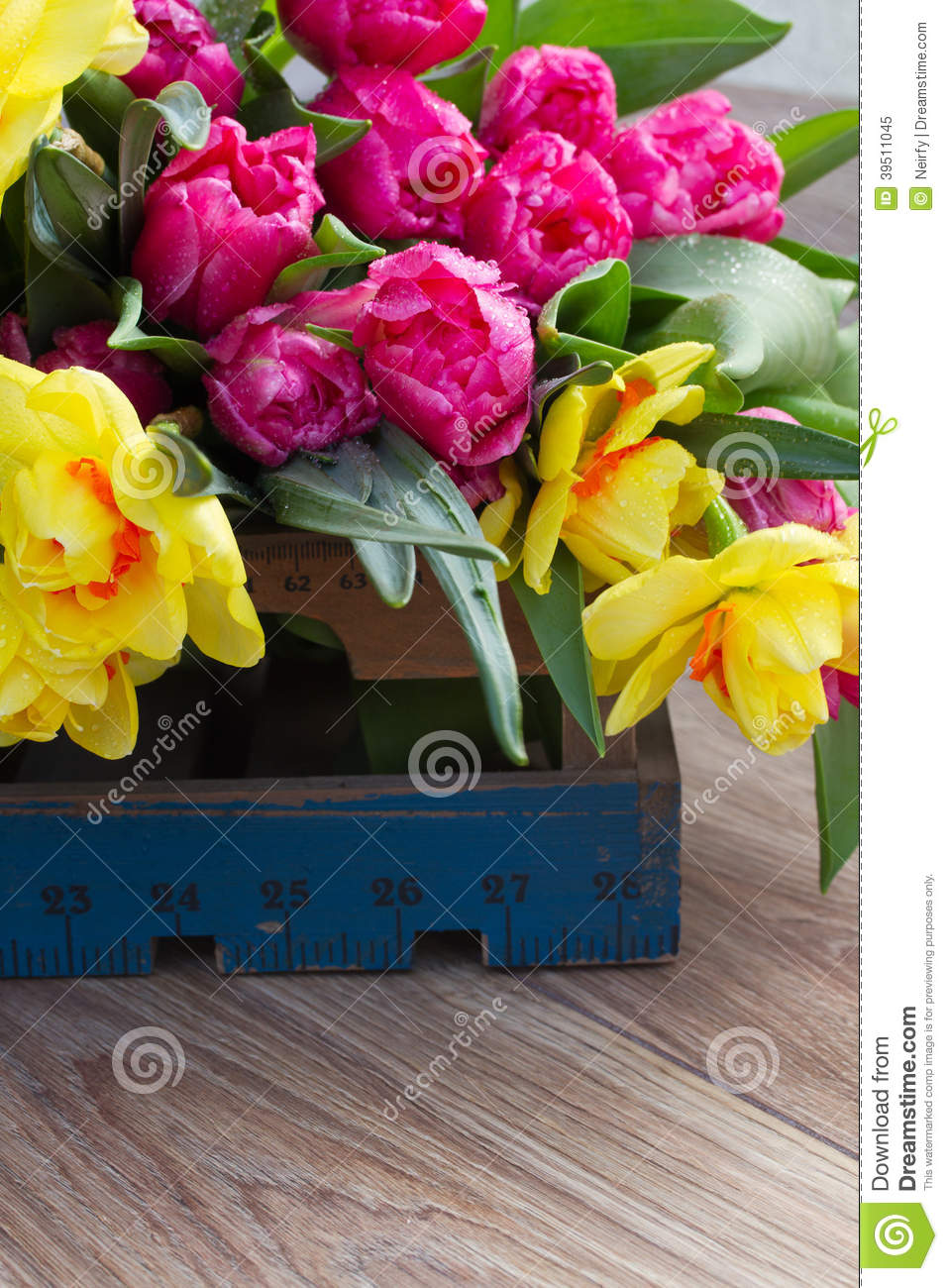Spring tulips and daffodils in wooden crate