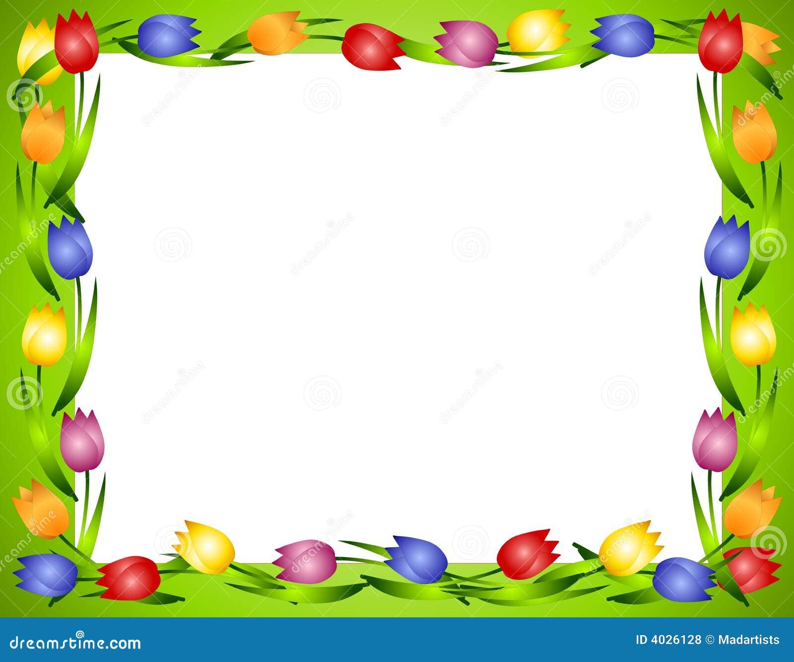 Spring Tulips Flower Frame Or Border 2 Royalty Free Stock ...
