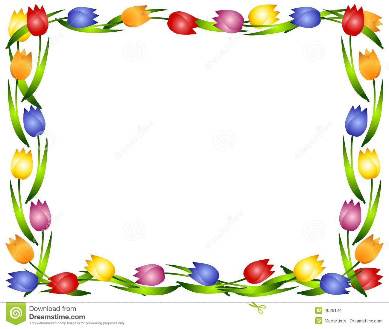 spring tulips flower frame or border 2 stock illustration