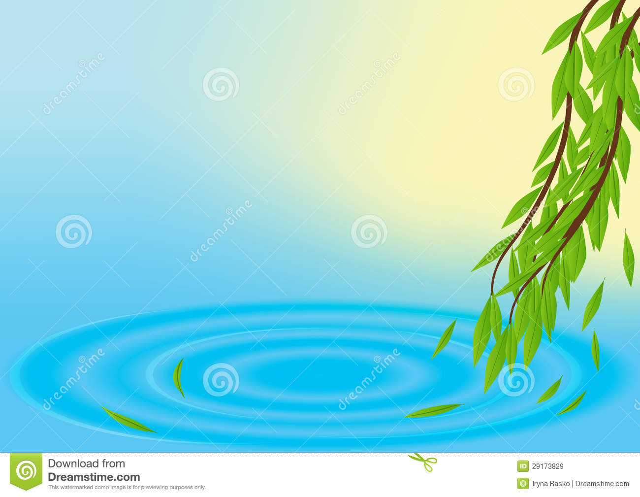 Spring vector background with water and leaves