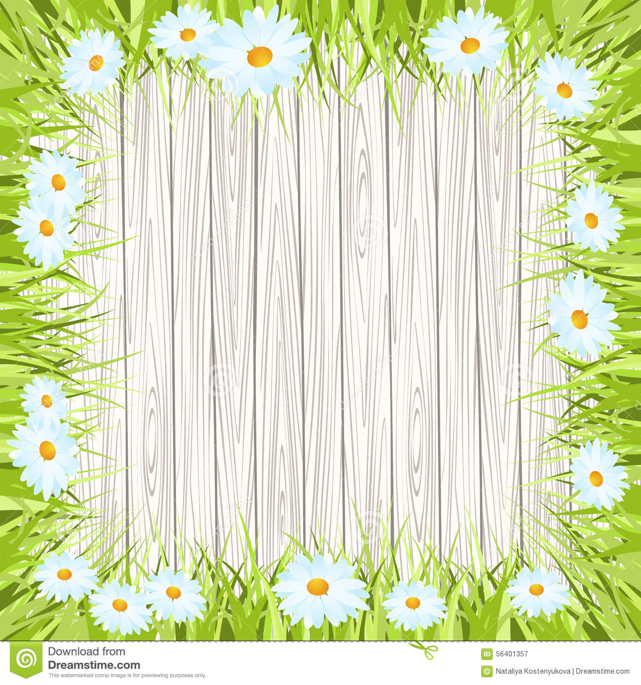 Spring Flower With Green Background Vector 02 Free Download: Spring Vector Background With Wooden Sign , Grass Stock