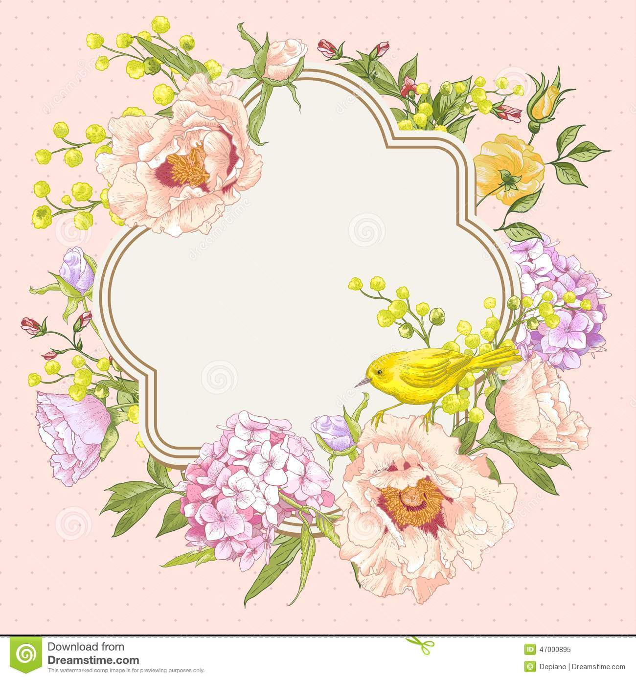 spring vintage floral bouquet with birds stock vector hydrangea clip art images hydrangea clip art free images