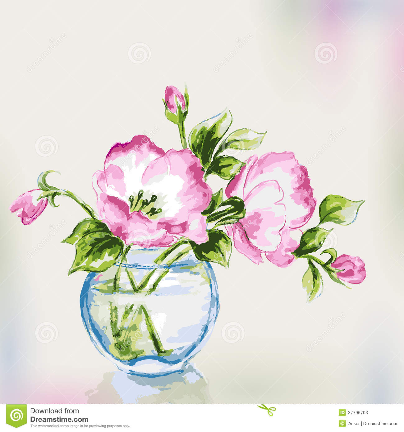 Spring watercolor flowers in vase stock vector for Bouquet de fleurs nature