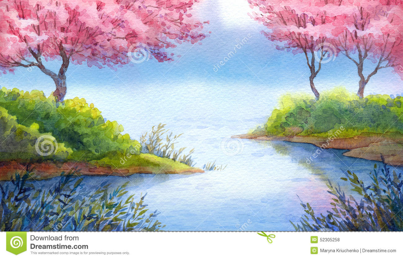 Spring Watercolor Landscape. Flowering Trees Over Lake ...