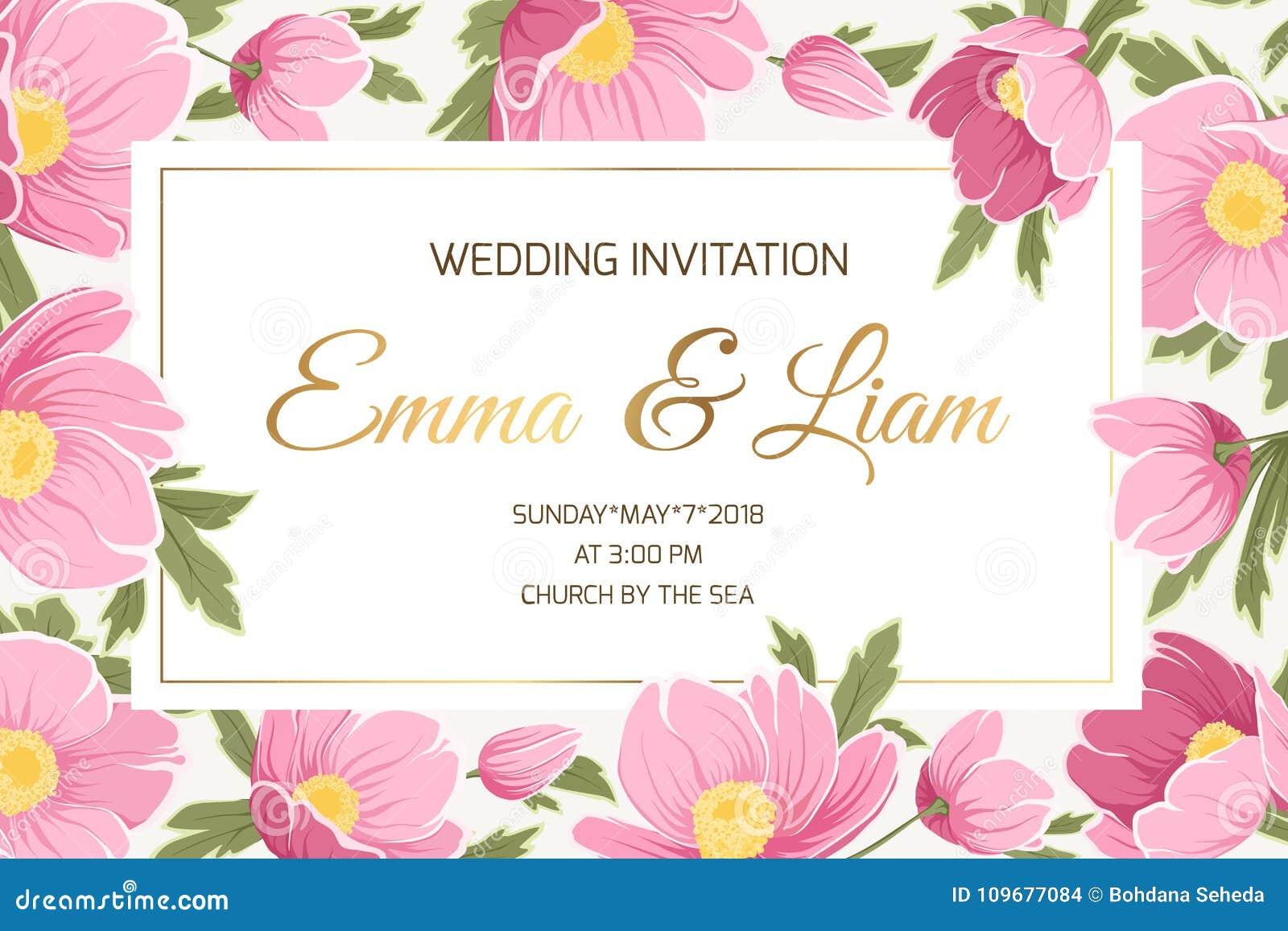 Spring Wedding Invitation Card Stock Vector