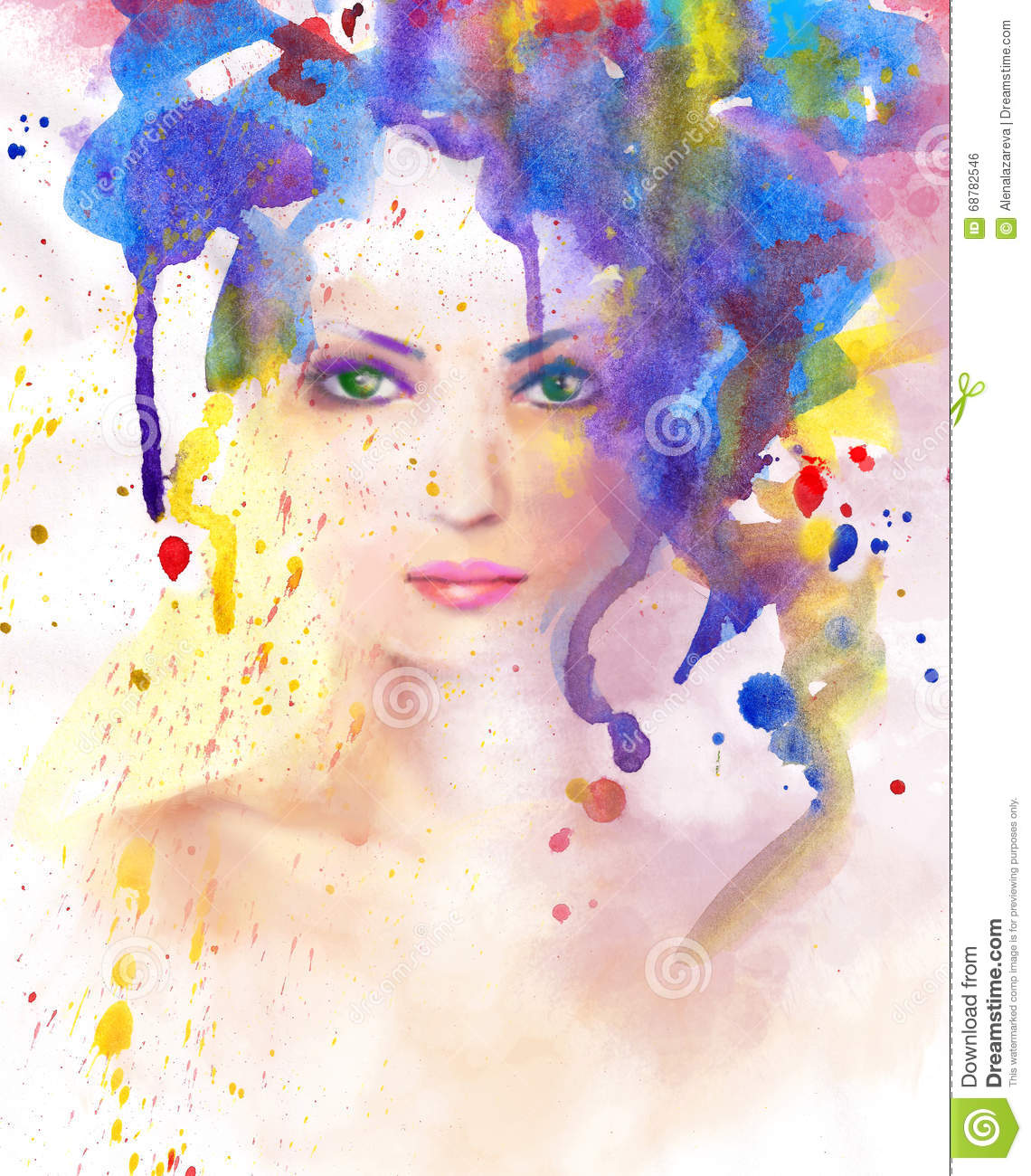 spring woman abstract portrait beautiful watercolor hand painted drawing stock illustration. Black Bedroom Furniture Sets. Home Design Ideas