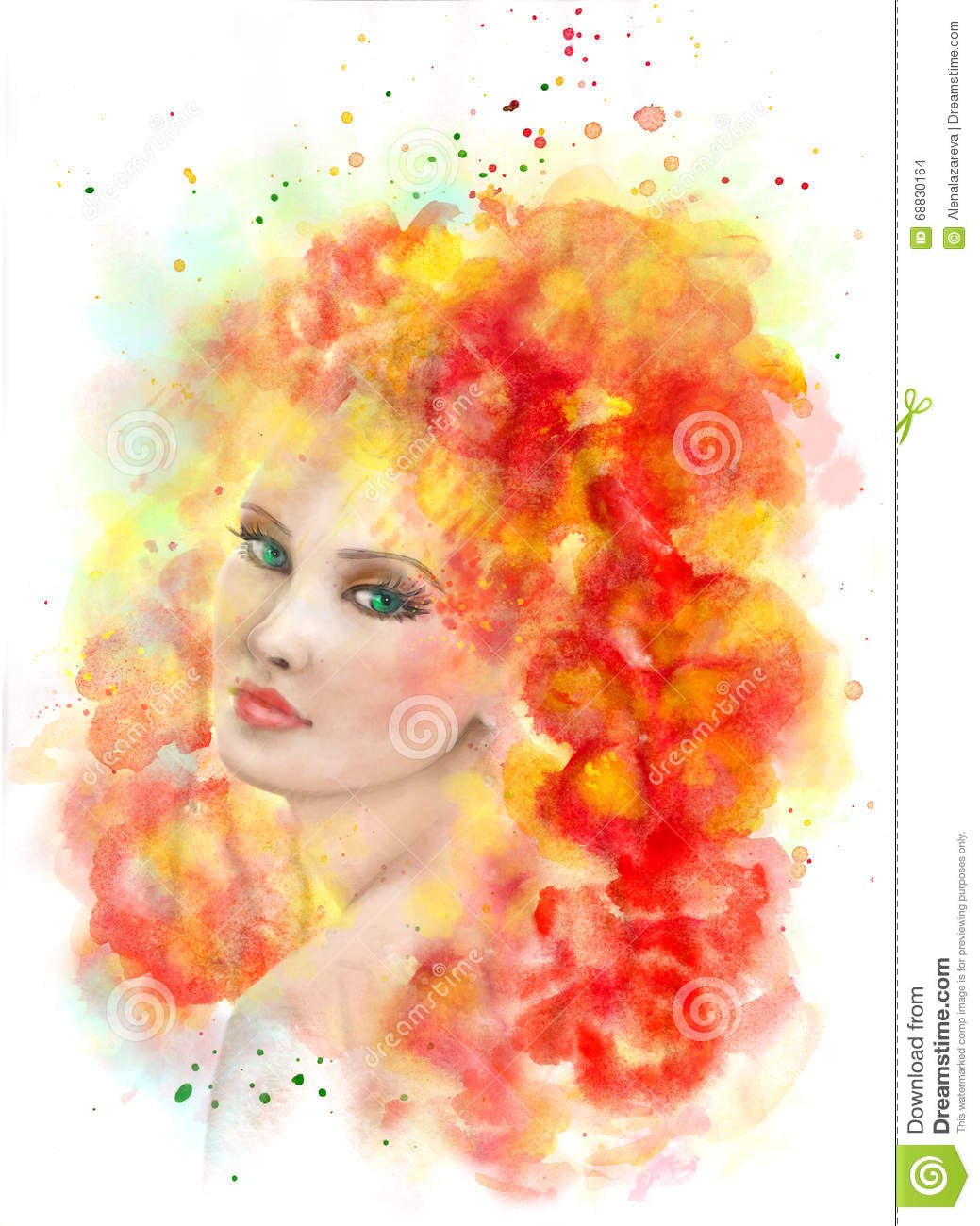 1f437847ef Spring Woman. Abstract Portrait Beautiful Watercolor