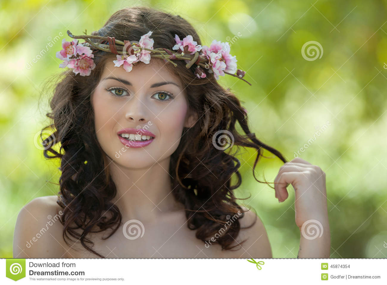 Spring woman in nature