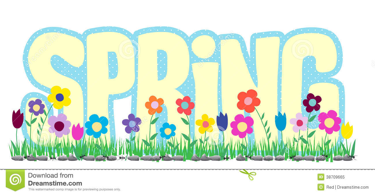 Royalty Free Stock Photo: Spring Word with Flowers and Ants. Image ...