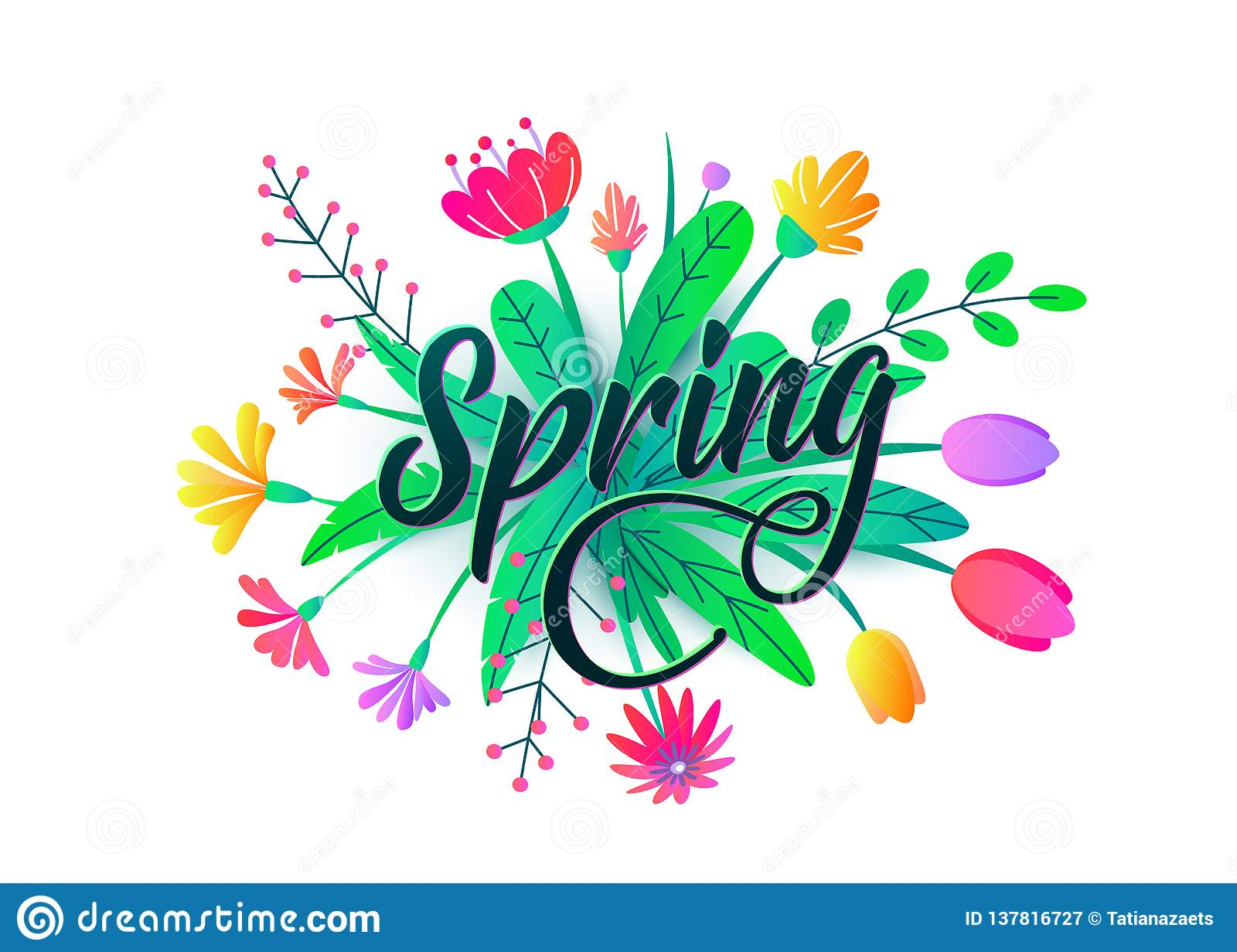 Spring Word Vector Background With Flat Minimal Flowers Leaves Isolated White Floral