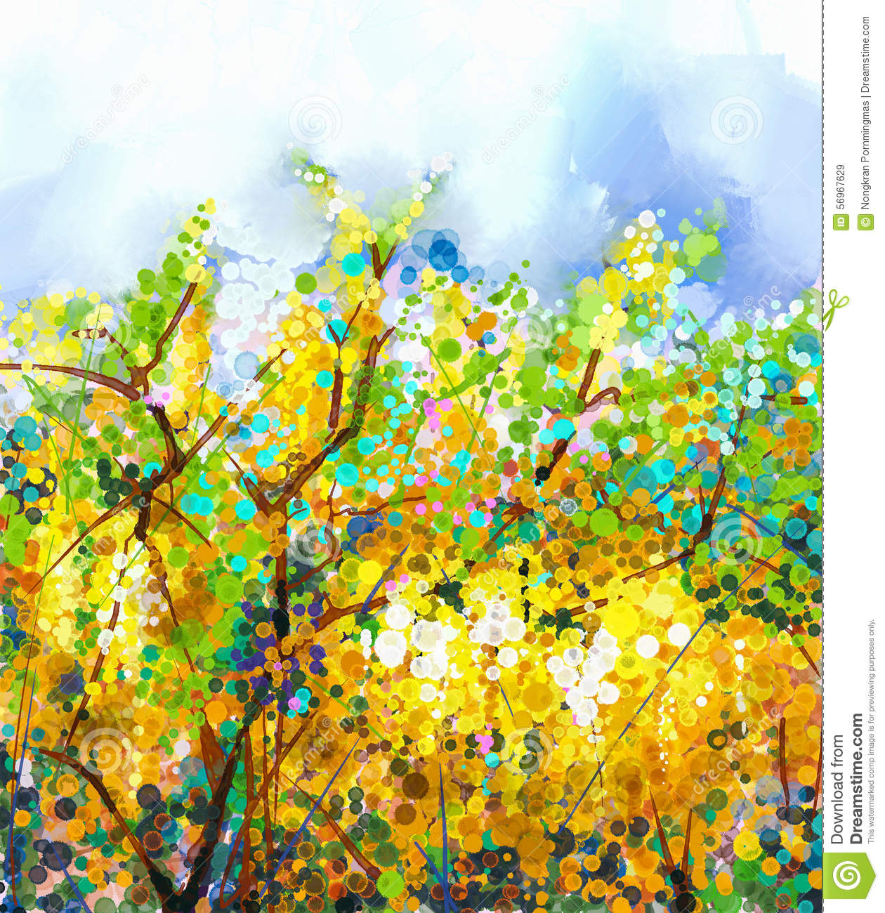 Spring Yellow Flowers Wisteria Tree.Oil Painting Stock Illustration ...