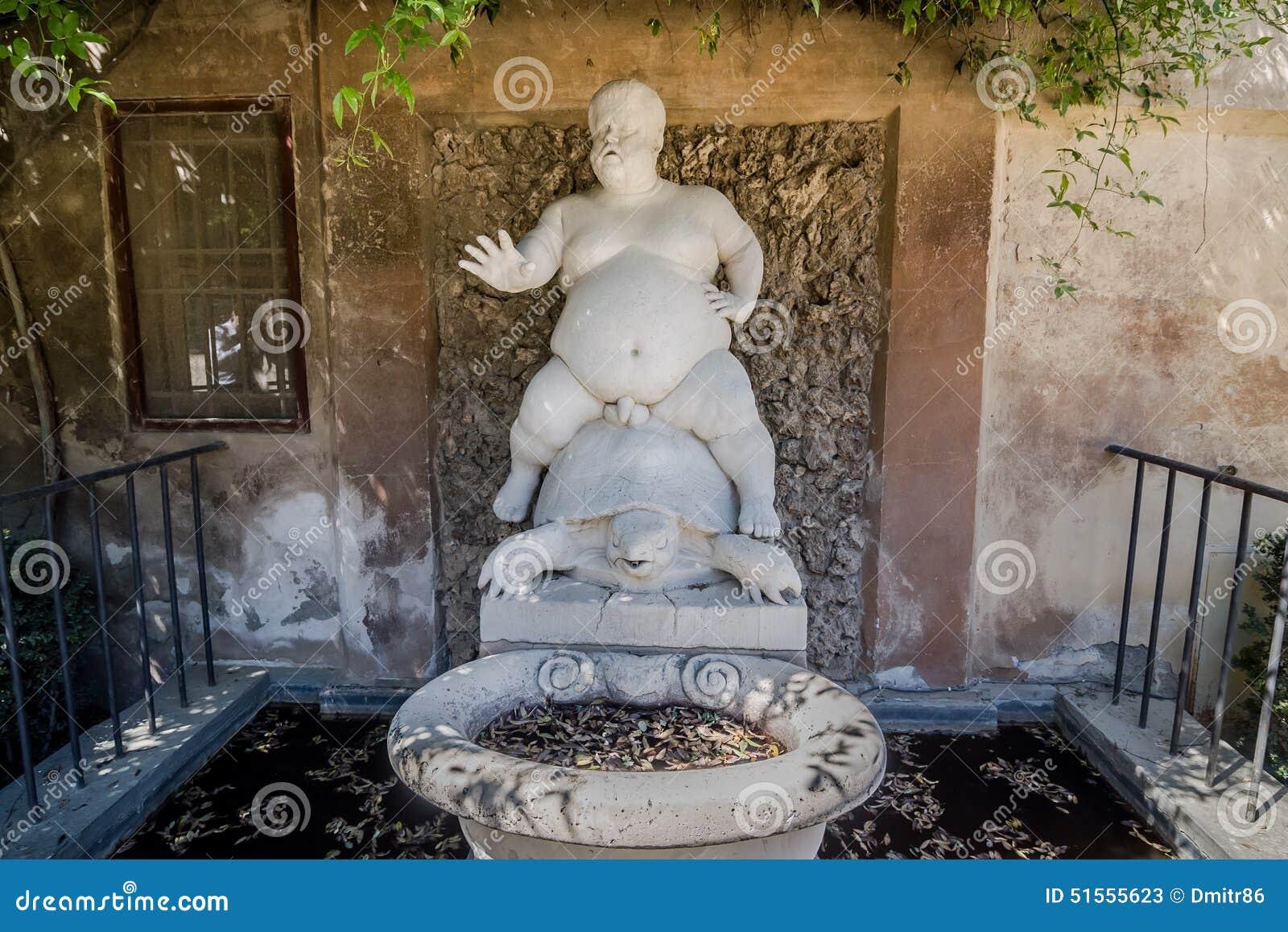 Springbrunndvärgen Morgant av Valerio Cigoli i Boboli trädgårdar florence italy tuscany