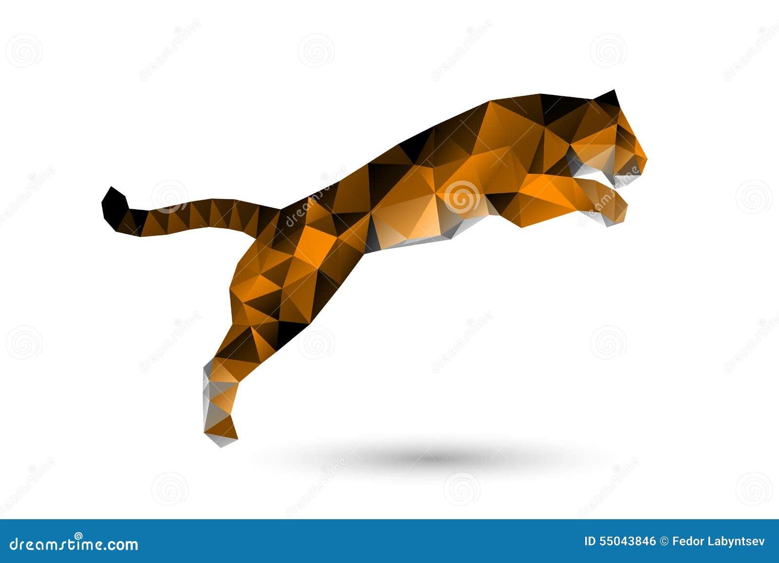 Springen des Tigers von den Polygonen