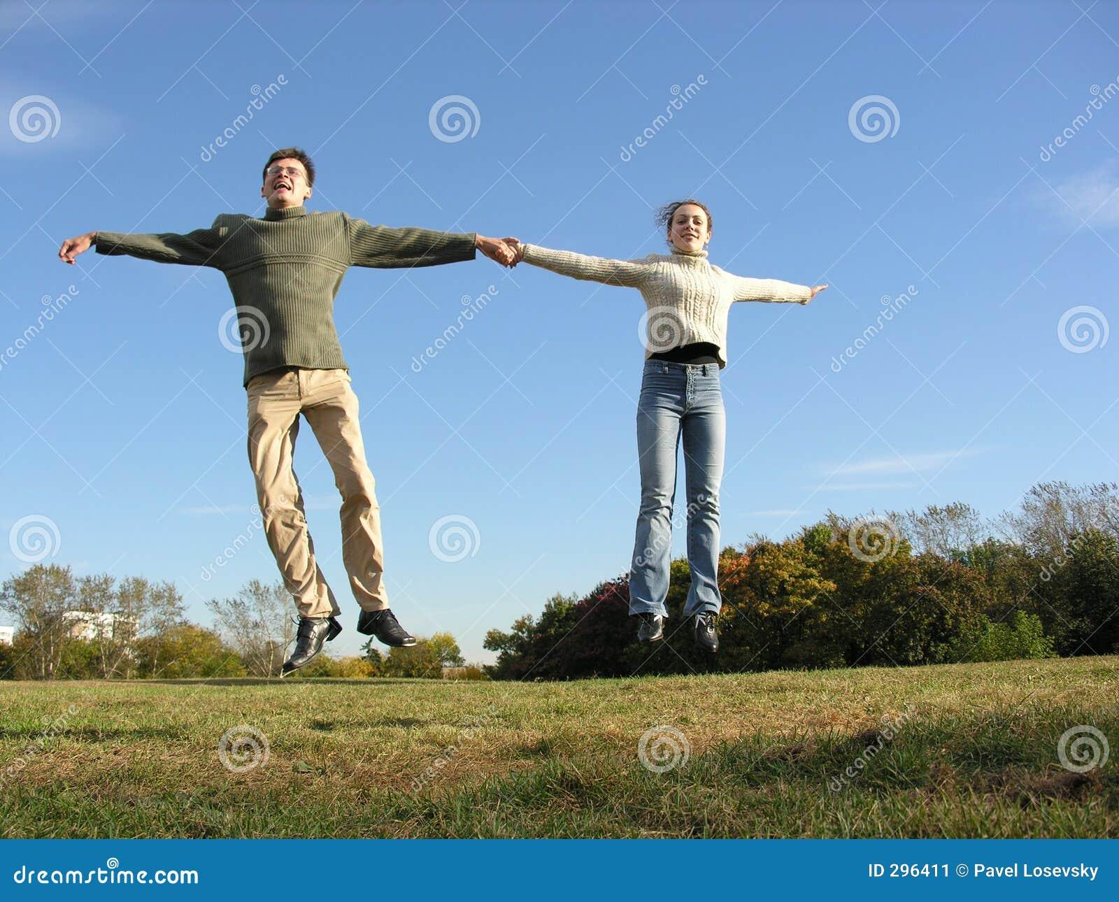 Springend paar