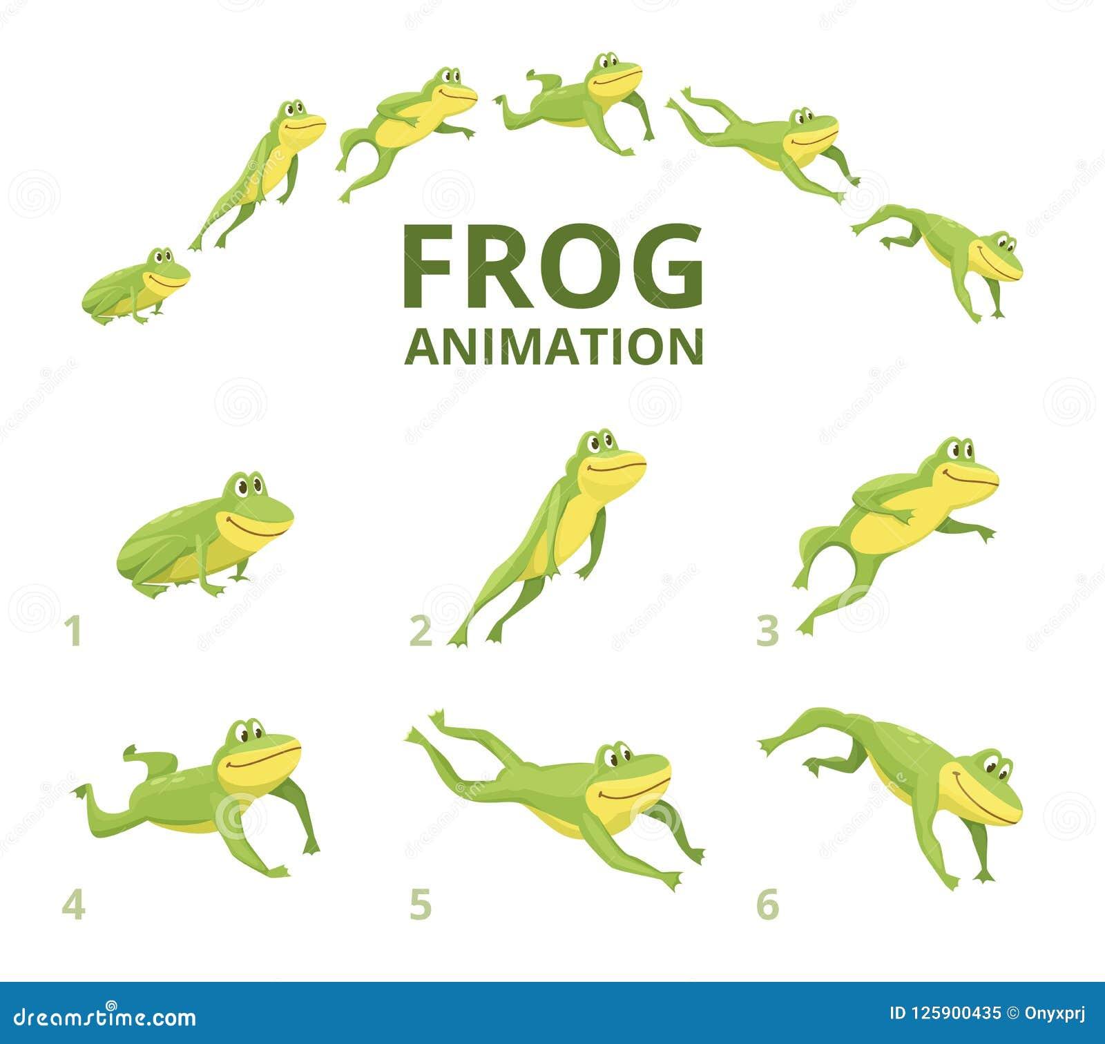 Springende Animation des Frosches Verschiedene Keyframes für grünes Tier