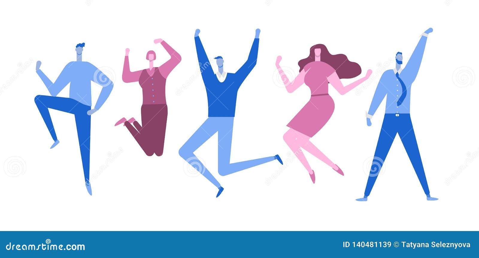 Springende Geschäftsleute Glückliche Leute Flache Art Auch im corel abgehobenen Betrag