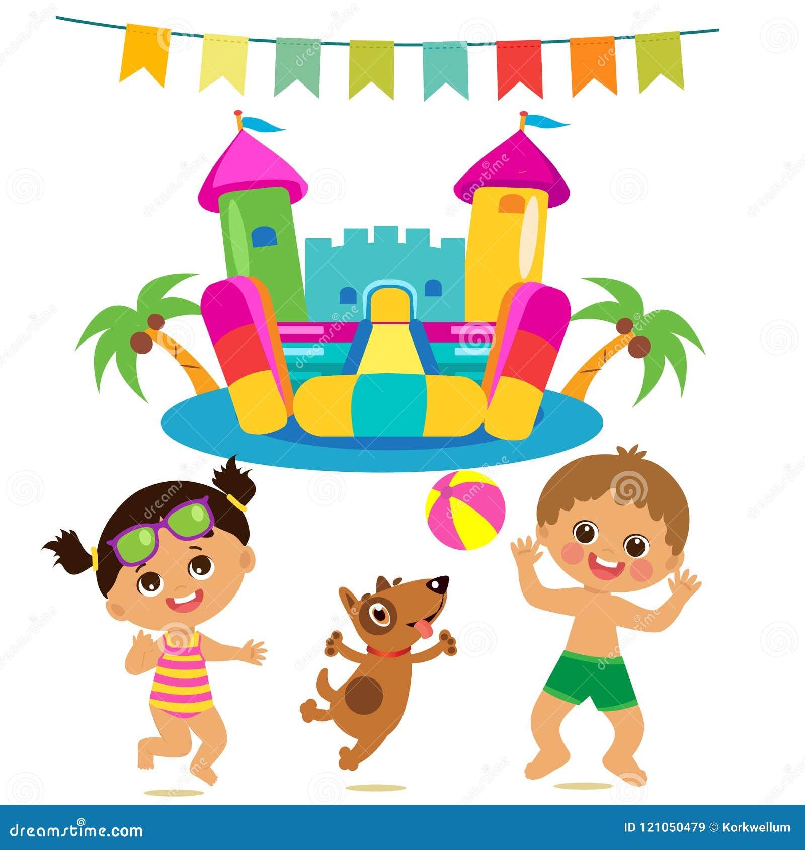 Springende Kinder und Hund und federnd Schloss-Vektor-Satz Karikatur-Illustrationen auf einem weißen Hintergrund